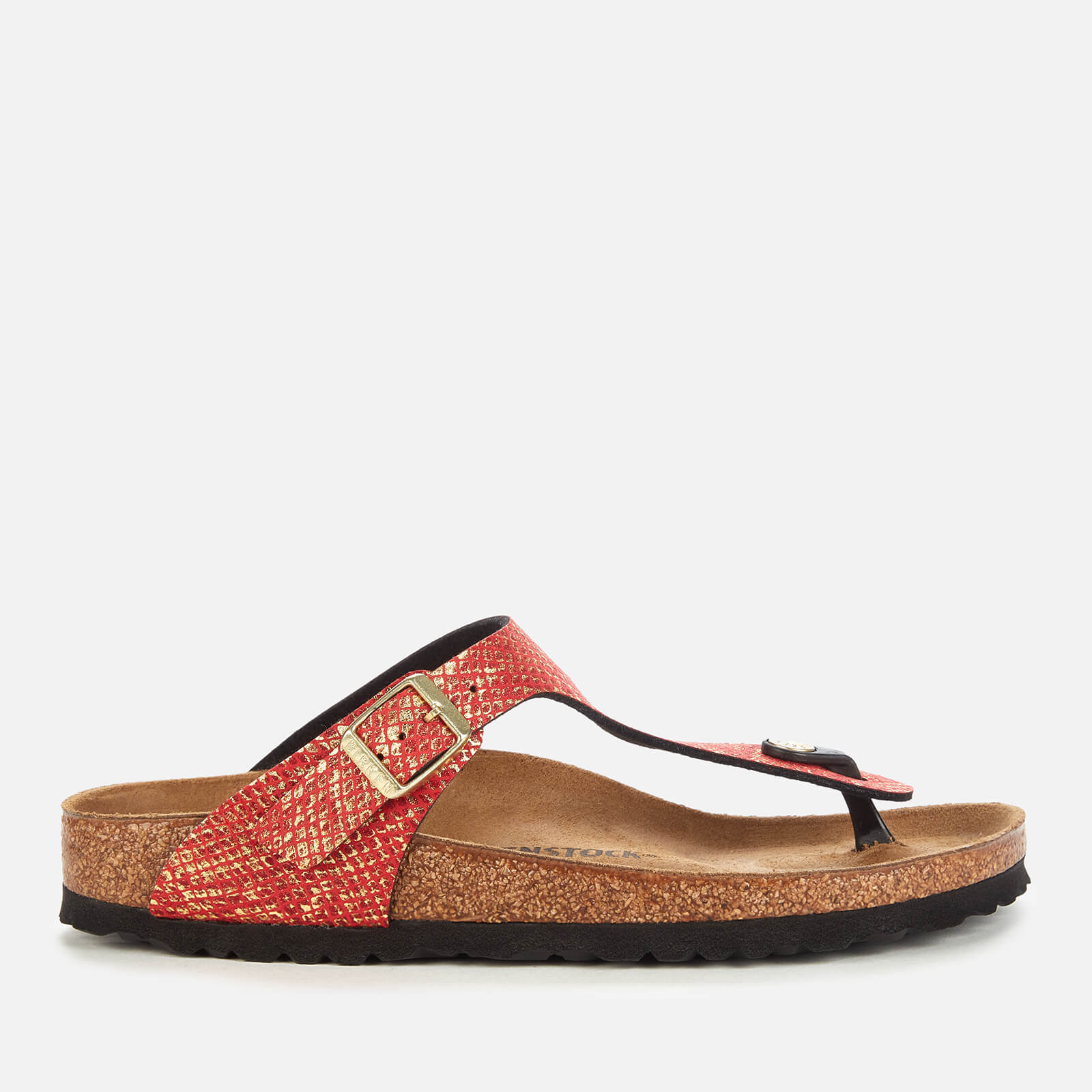 Birkenstock Womens Shiny Python Gizeh Toe Post Sandals Red Eu 38 Uk 5