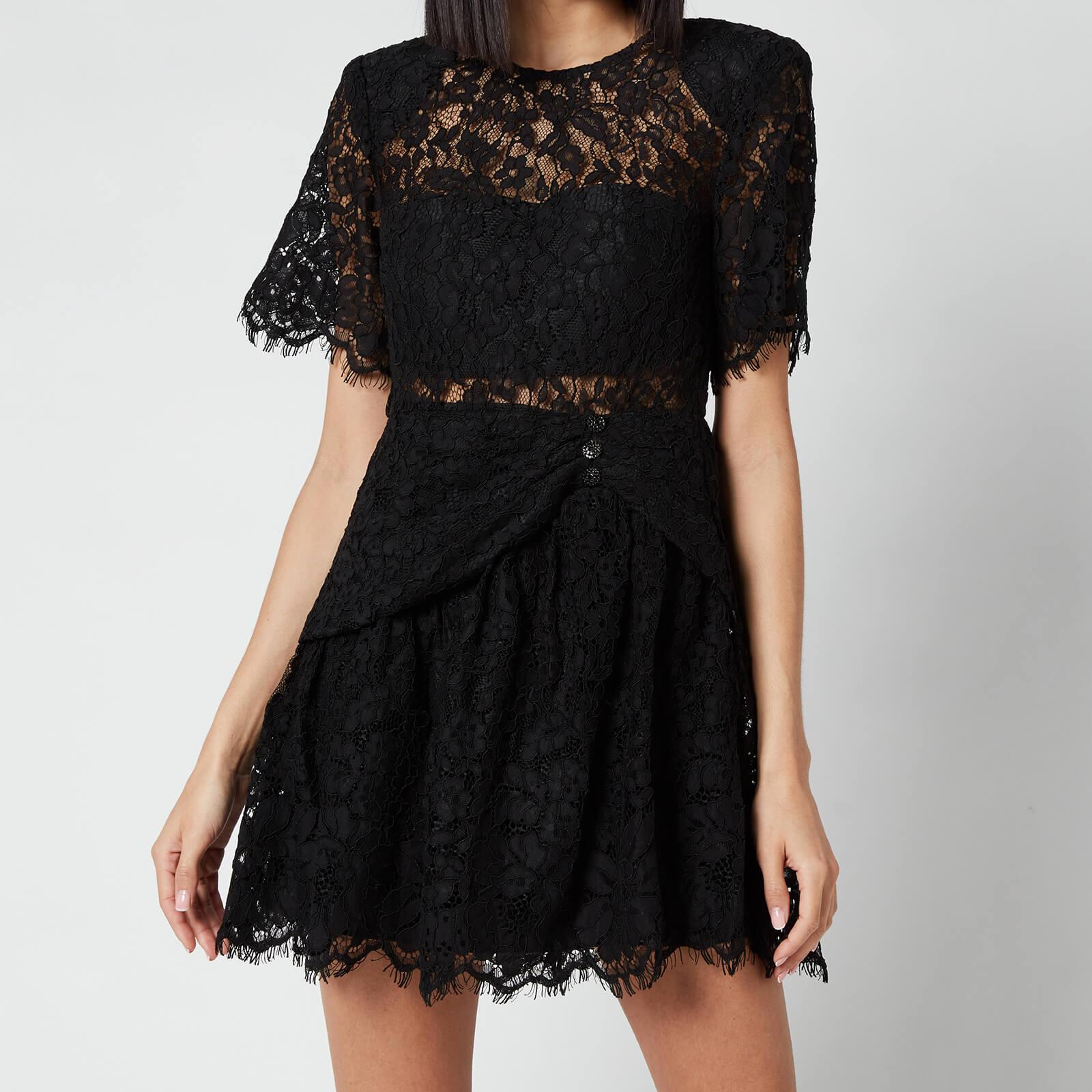 Self-Portrait Women's Fine Cord Sleeve Mini Dress - Black - UK 6