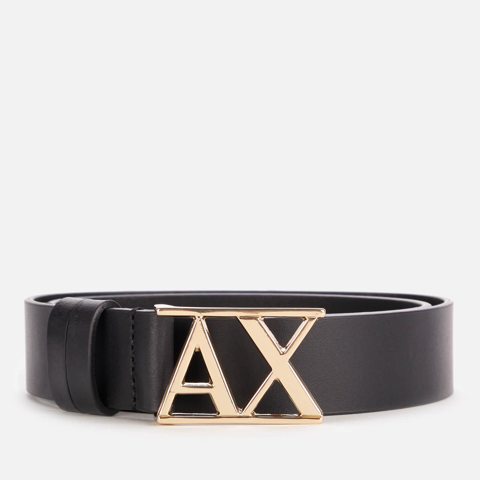 armani exchange women's logo belt - black - eu 80/w32