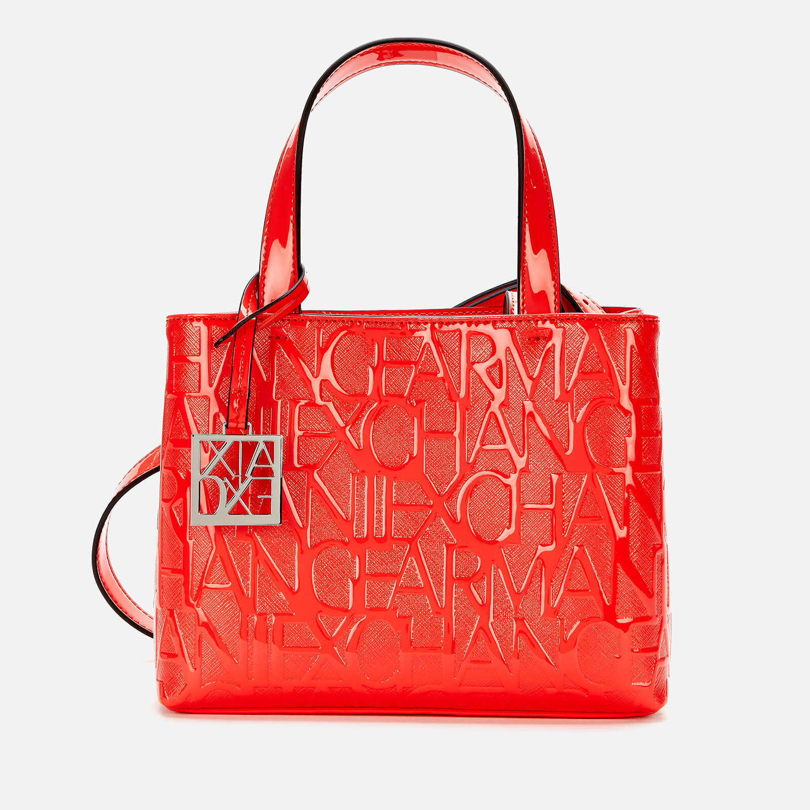 armani exchange women's small open monogram shopper bag - red