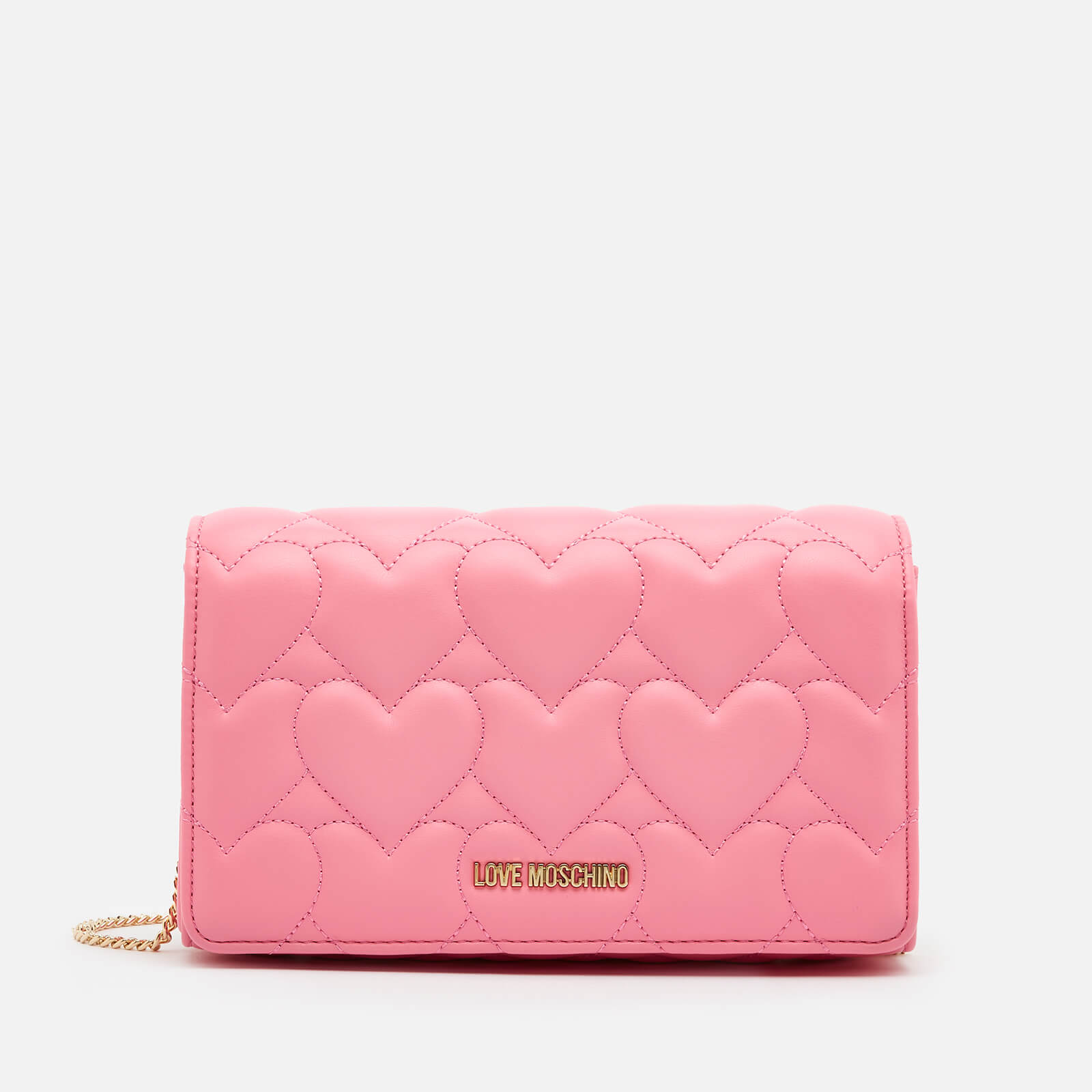 Love Moschino Women's Heart Quilt Chain Bag - Rose