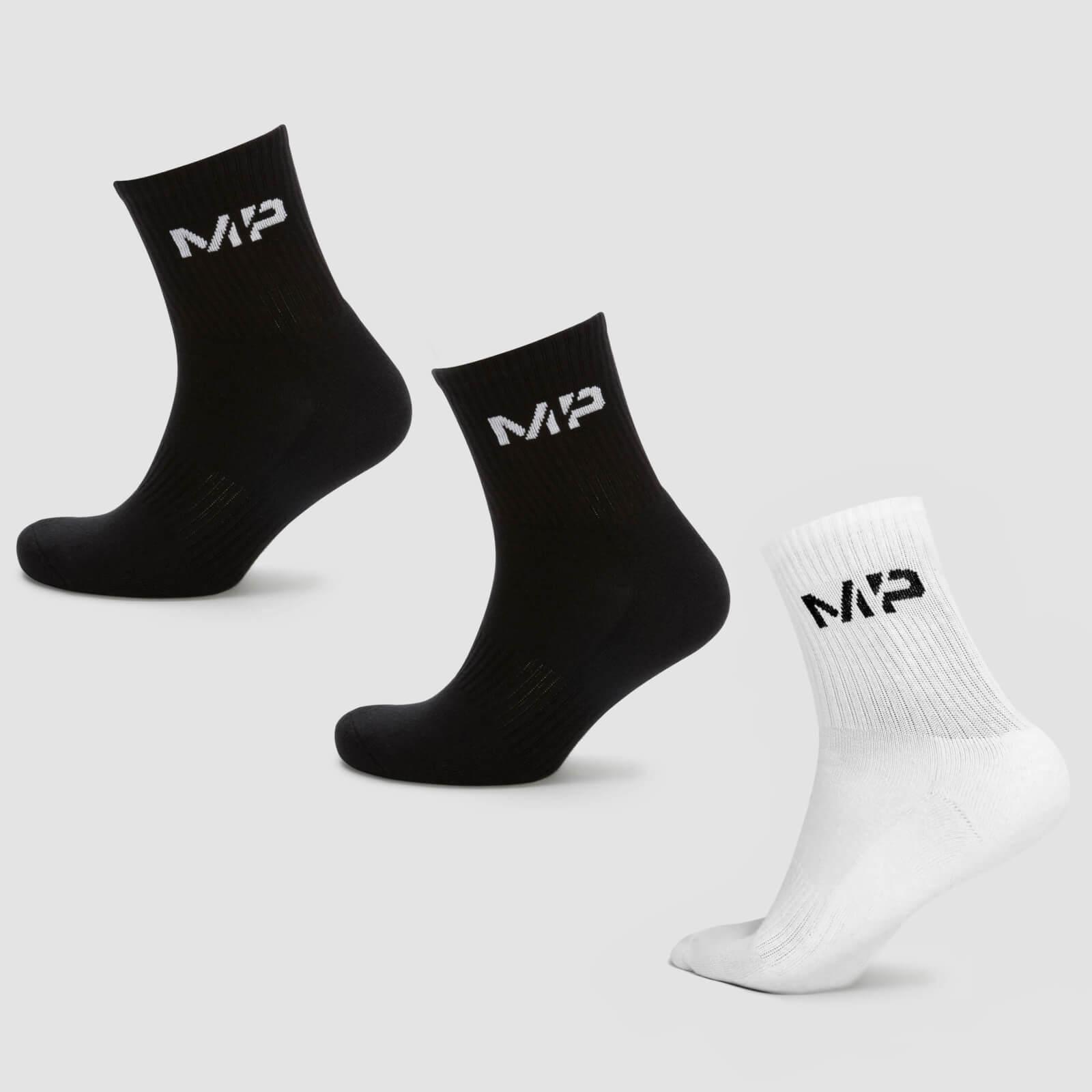 Купить MP Men's Essentials Crew Socks - Black/White (3 Pack) - UK 9-12, Myprotein International