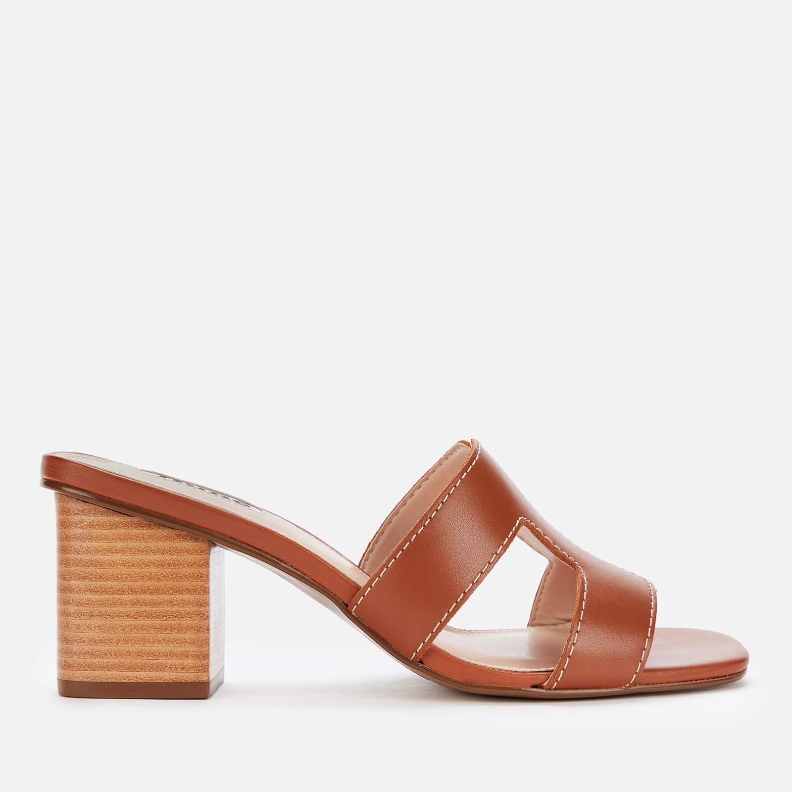 Dune Womens Jupe Leather Heeled Mules Tan Uk 8