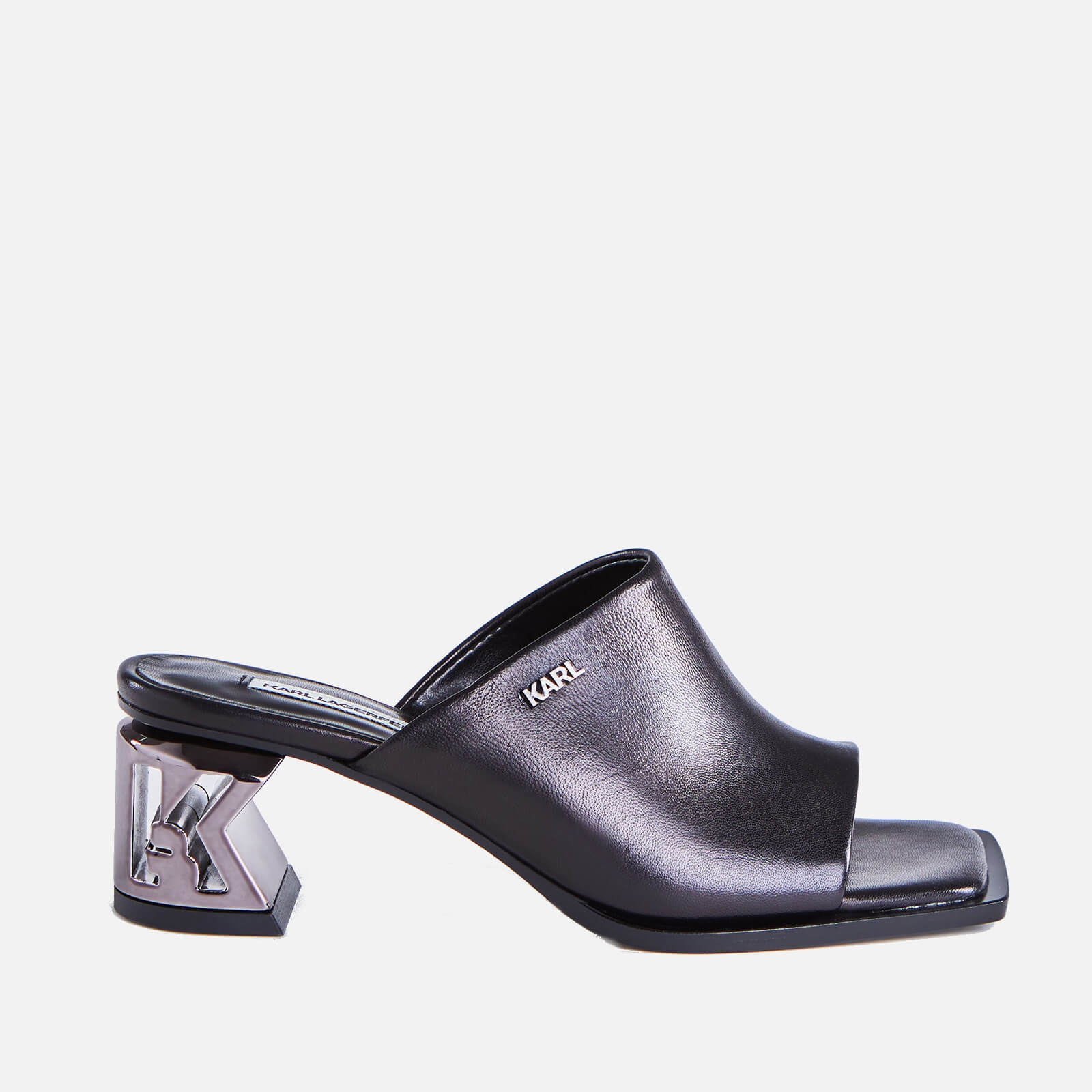 Click to view product details and reviews for Karl Lagerfeld Womens K Blok Leather Square Toe Heeled Mules Black Uk 3.