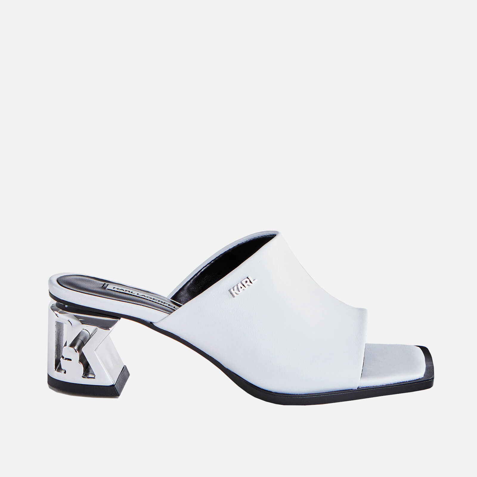 Karl Lagerfeld Womens K Blok Leather Square Toe Heeled Mules White Uk 8