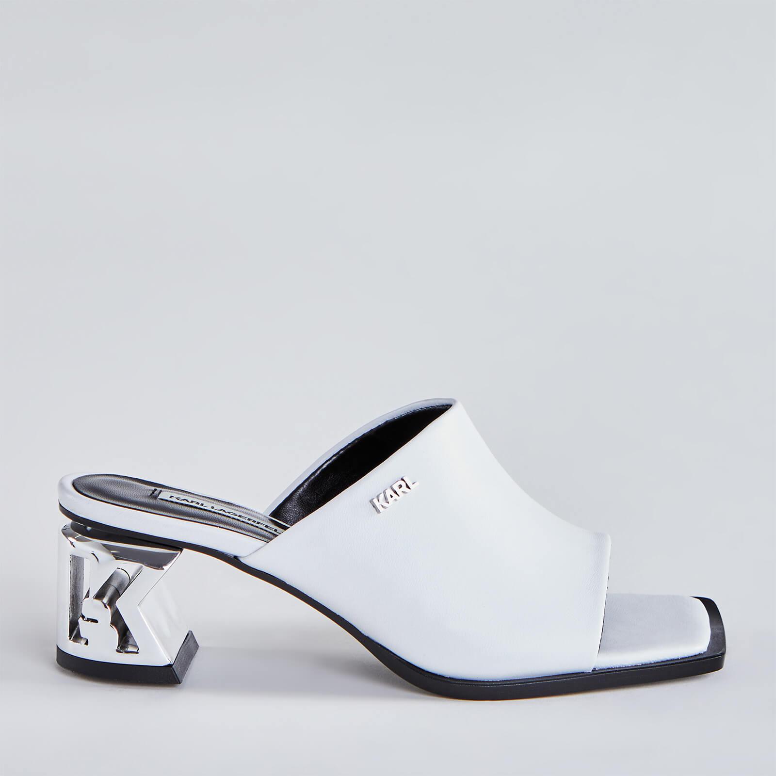 Karl Lagerfeld Women's K-Blok Leather Square Toe Heeled Mules - White - UK 4