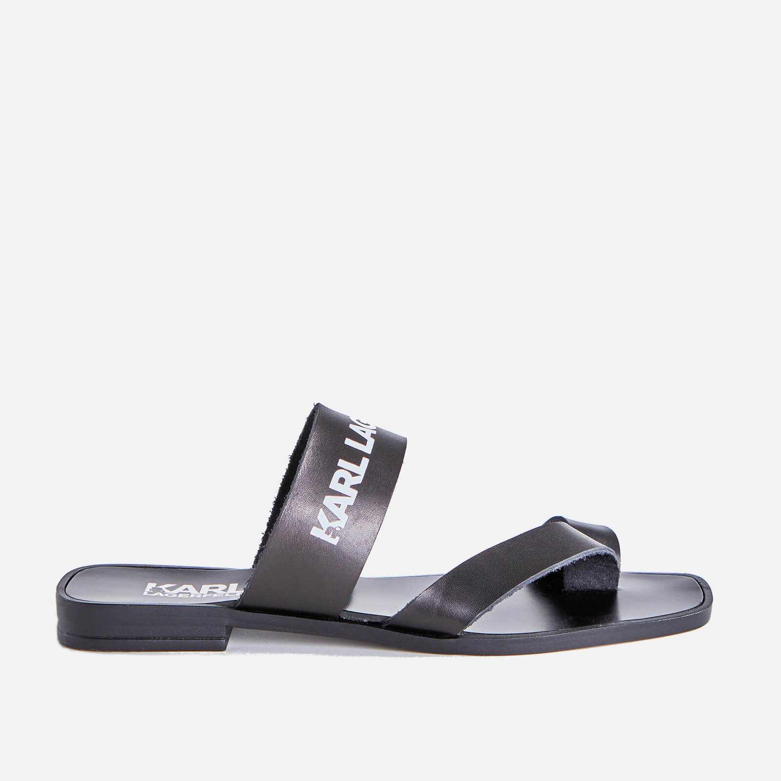 Karl Lagerfeld Womens Skoot Ii Leather Flat Sandals Black Uk 8