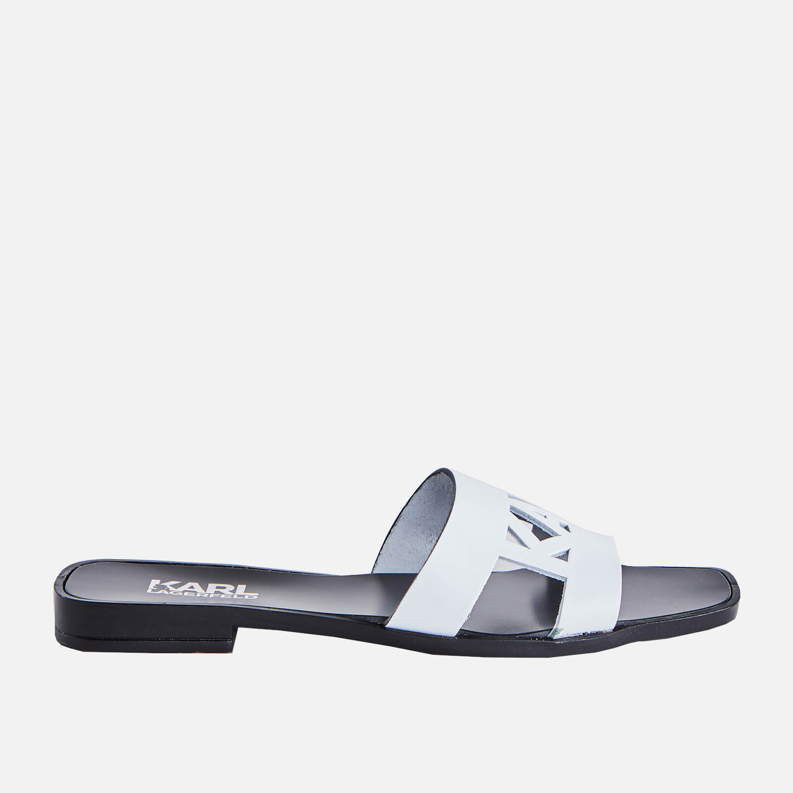 Karl Lagerfeld Womens Skoot Ii Karl Cut Out Flat Sandals White Uk 3