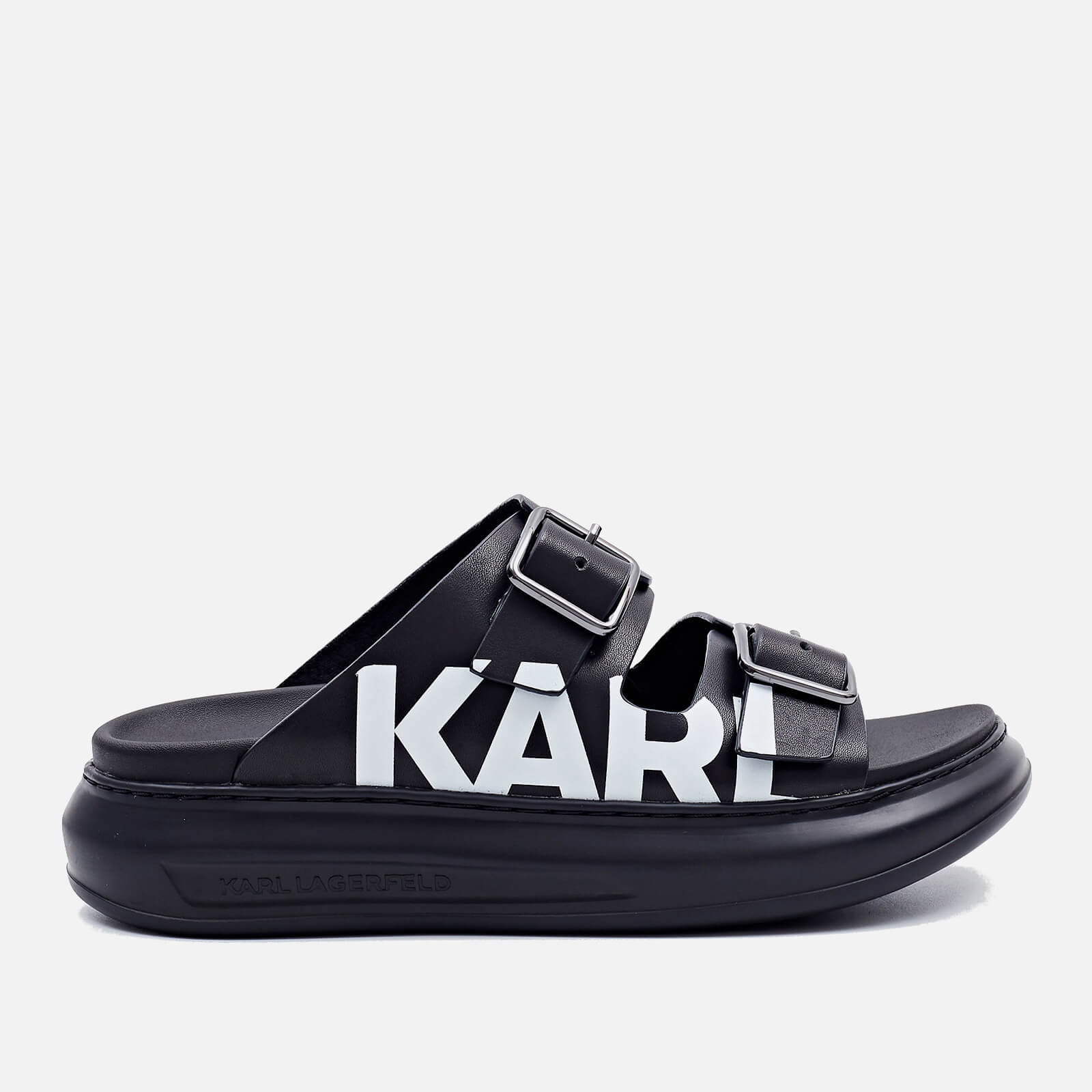 Karl Lagerfeld Womens Kapri Leather Flatform Sandals Black Uk 5