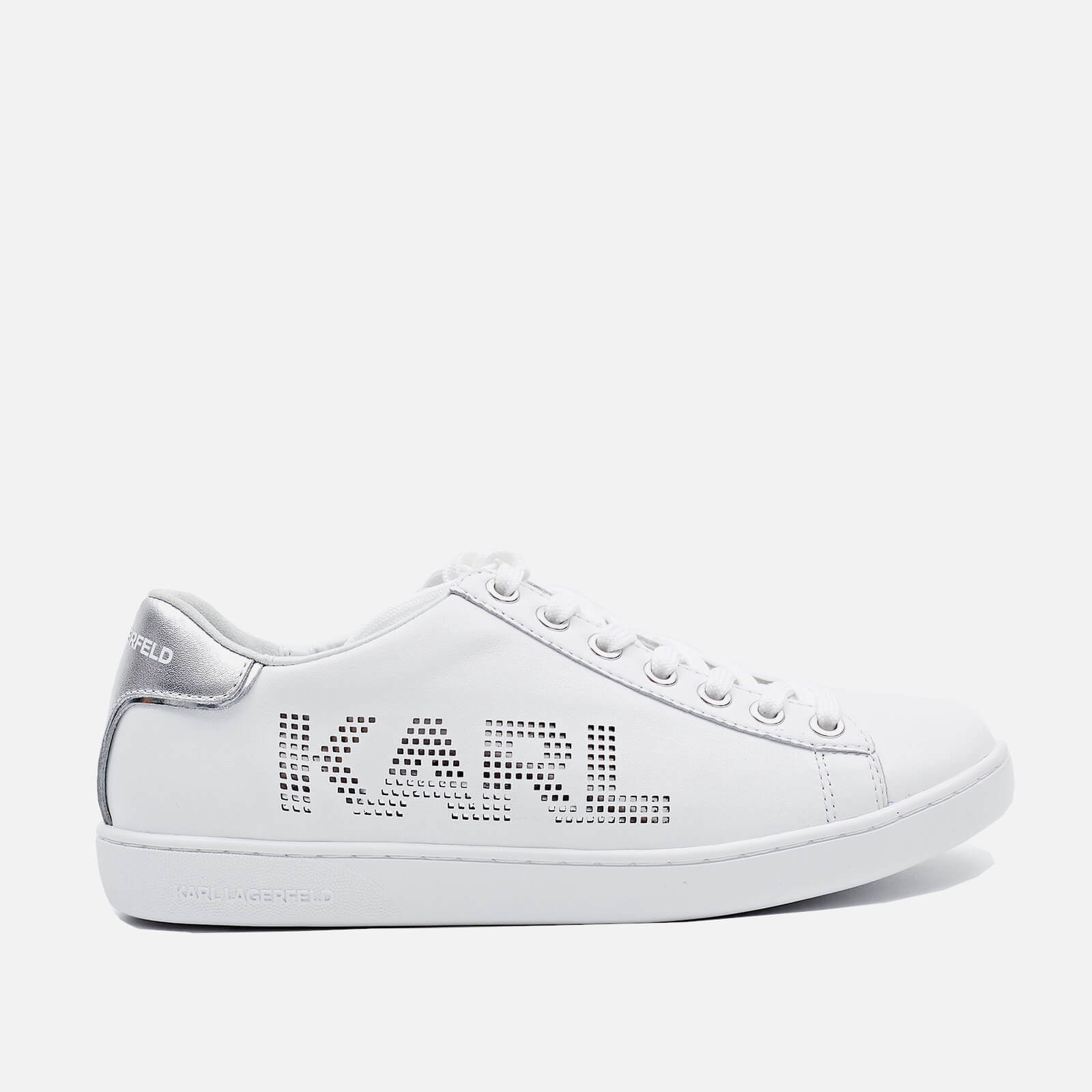 Karl Lagerfeld Womens Kupsole Ii Leather Trainers White Silver Uk 3