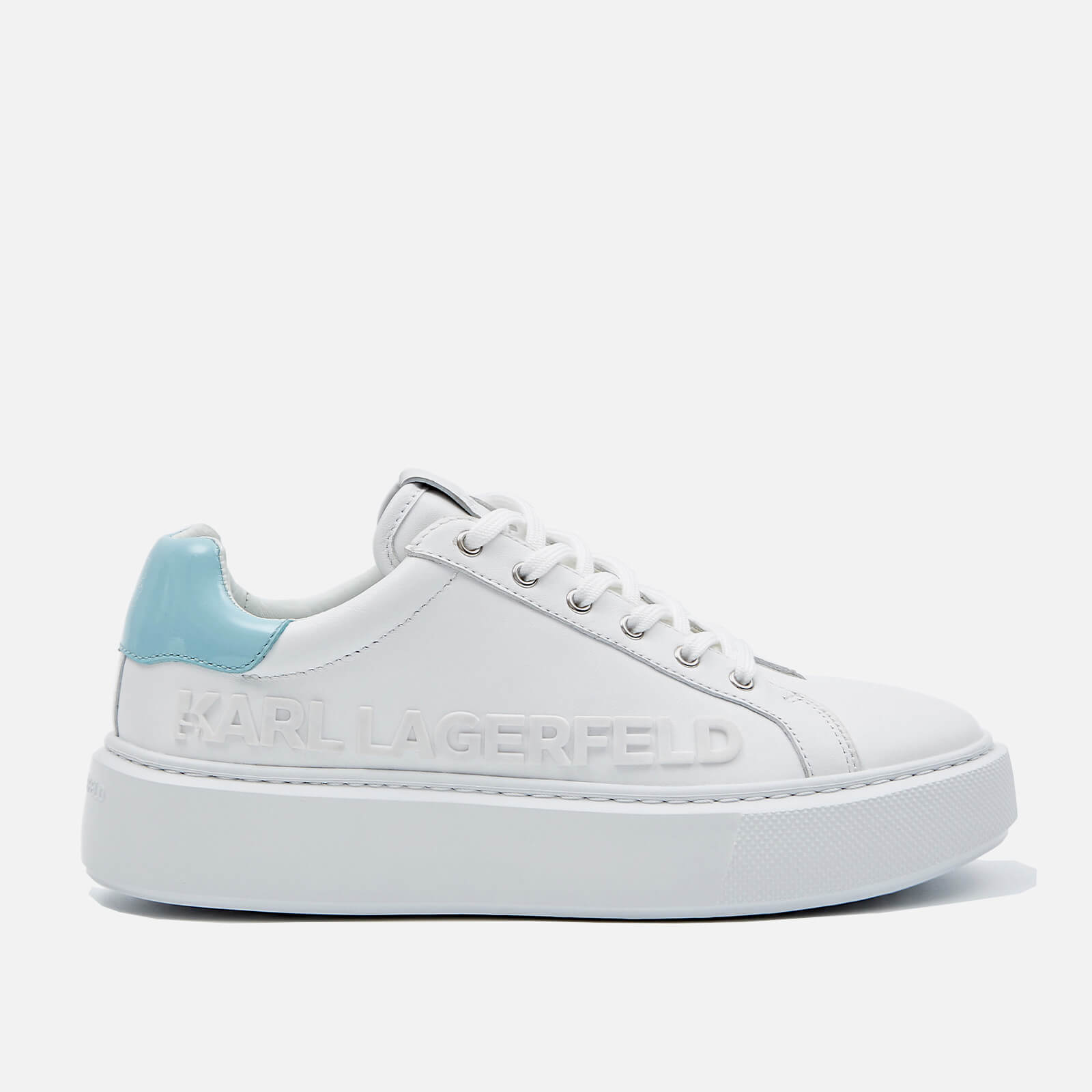 Karl Lagerfeld Womens Maxi Kup Leather Flatform Trainers White Blue Uk 3
