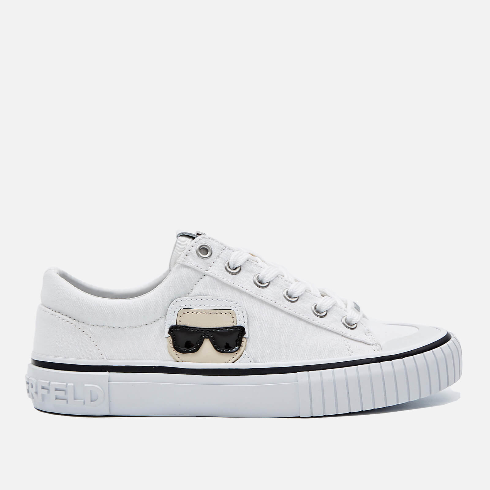 Karl Lagerfeld Womens Kampus Ii Canvas Low Top Trainers White Uk 3