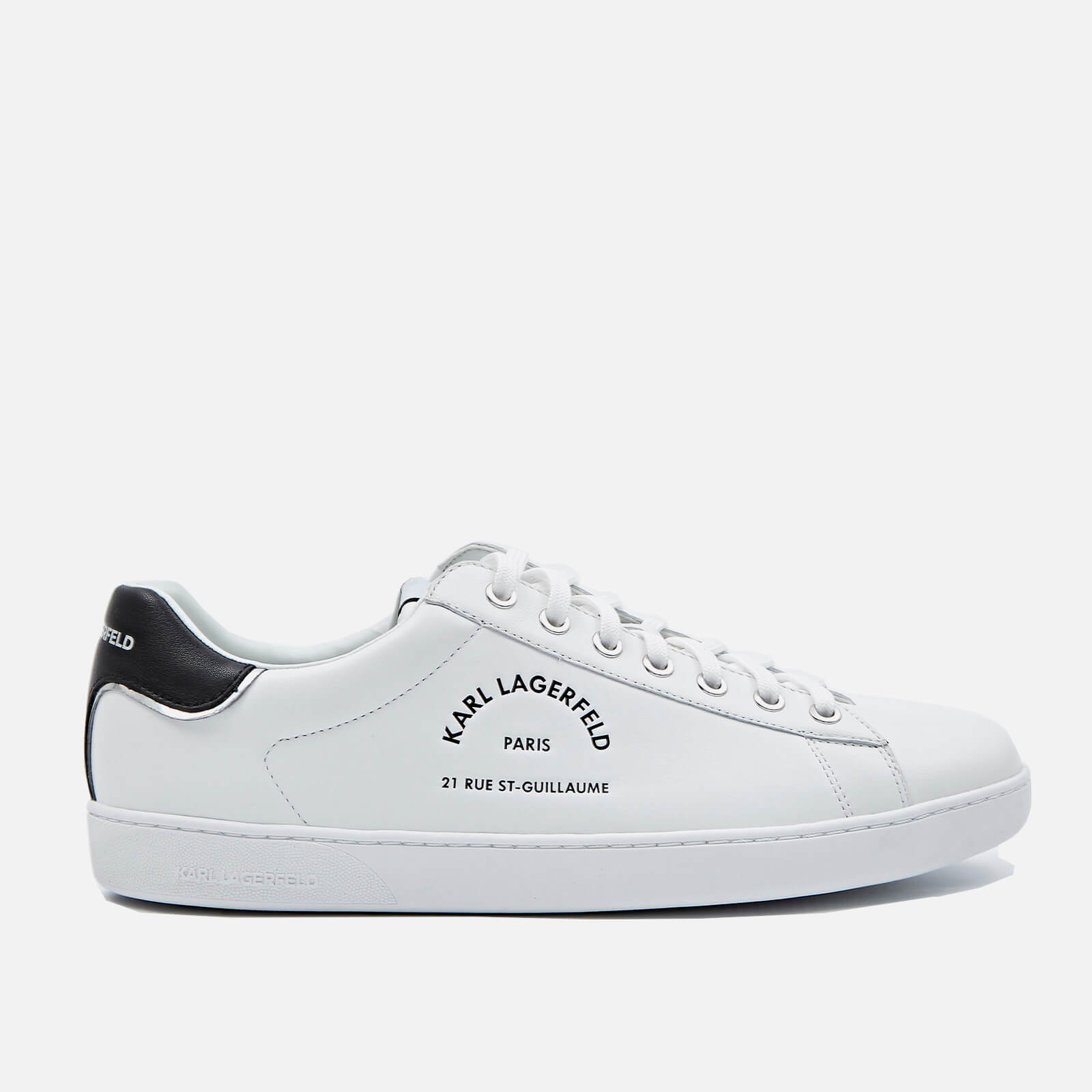 Karl Lagerfeld Mens Kourt Ii Leather Cupsole Trainers White Uk 8