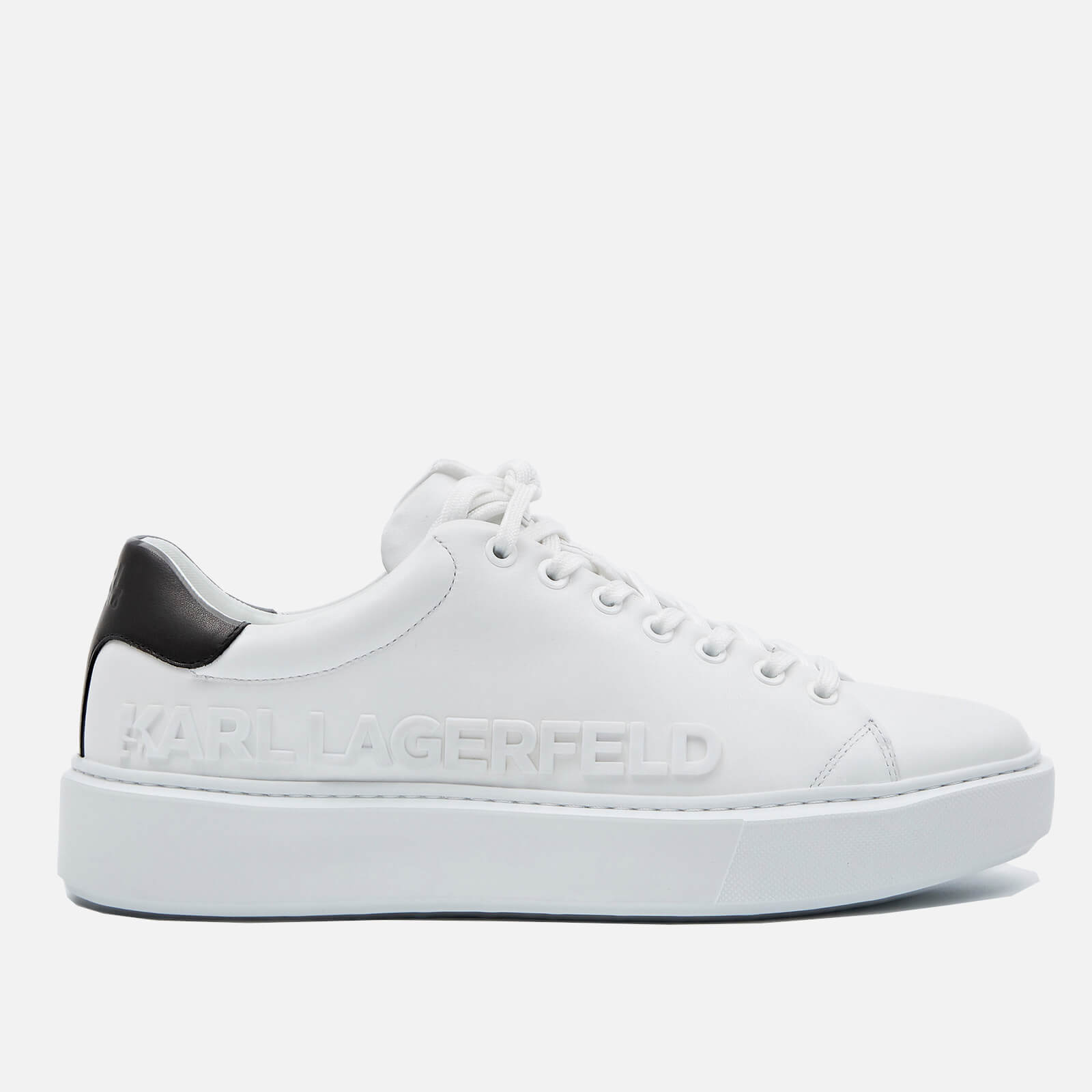 Click to view product details and reviews for Karl Lagerfeld Mens Maxi Kup Leather Chunky Trainers White Uk 8.