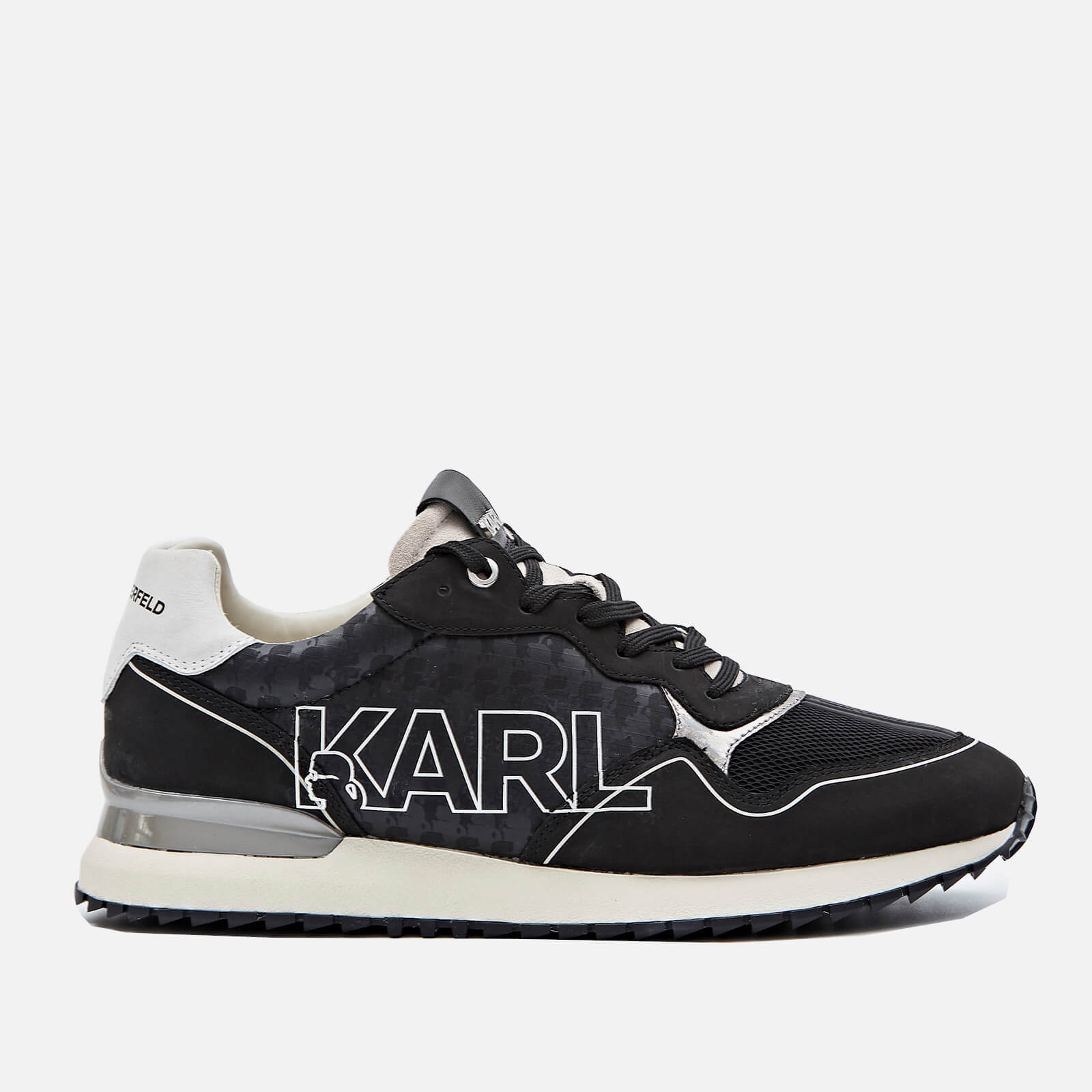 Karl Lagerfeld Mens Velocitor Ii Outline Logo Running Style Trainers Black Uk 8