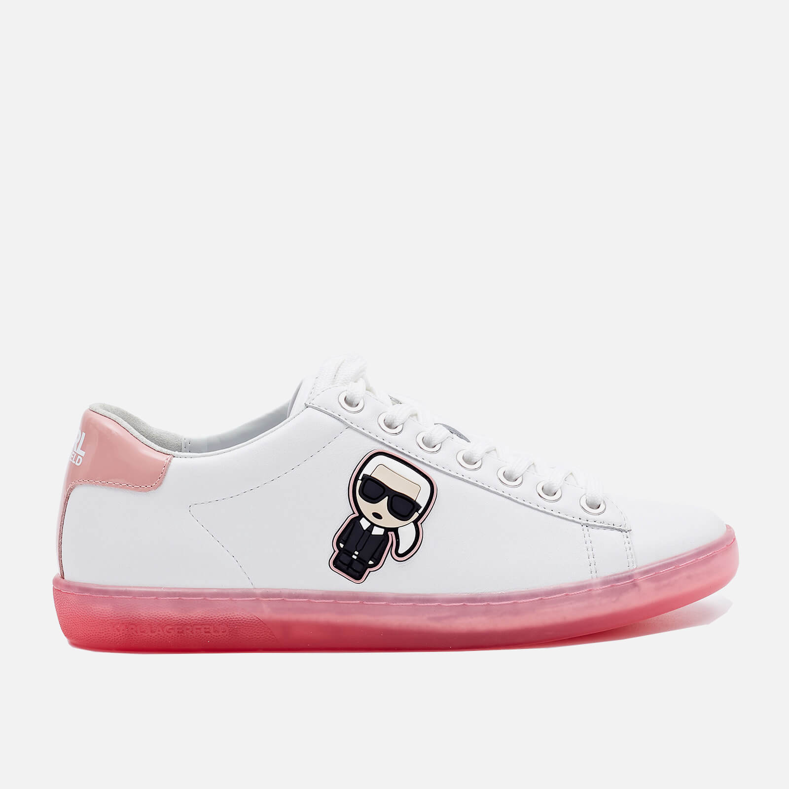 Click to view product details and reviews for Karl Lagerfeld Womens Kupsole Ii Karl Ikonic Leather Cupsole Trainers White Pink Uk 4.