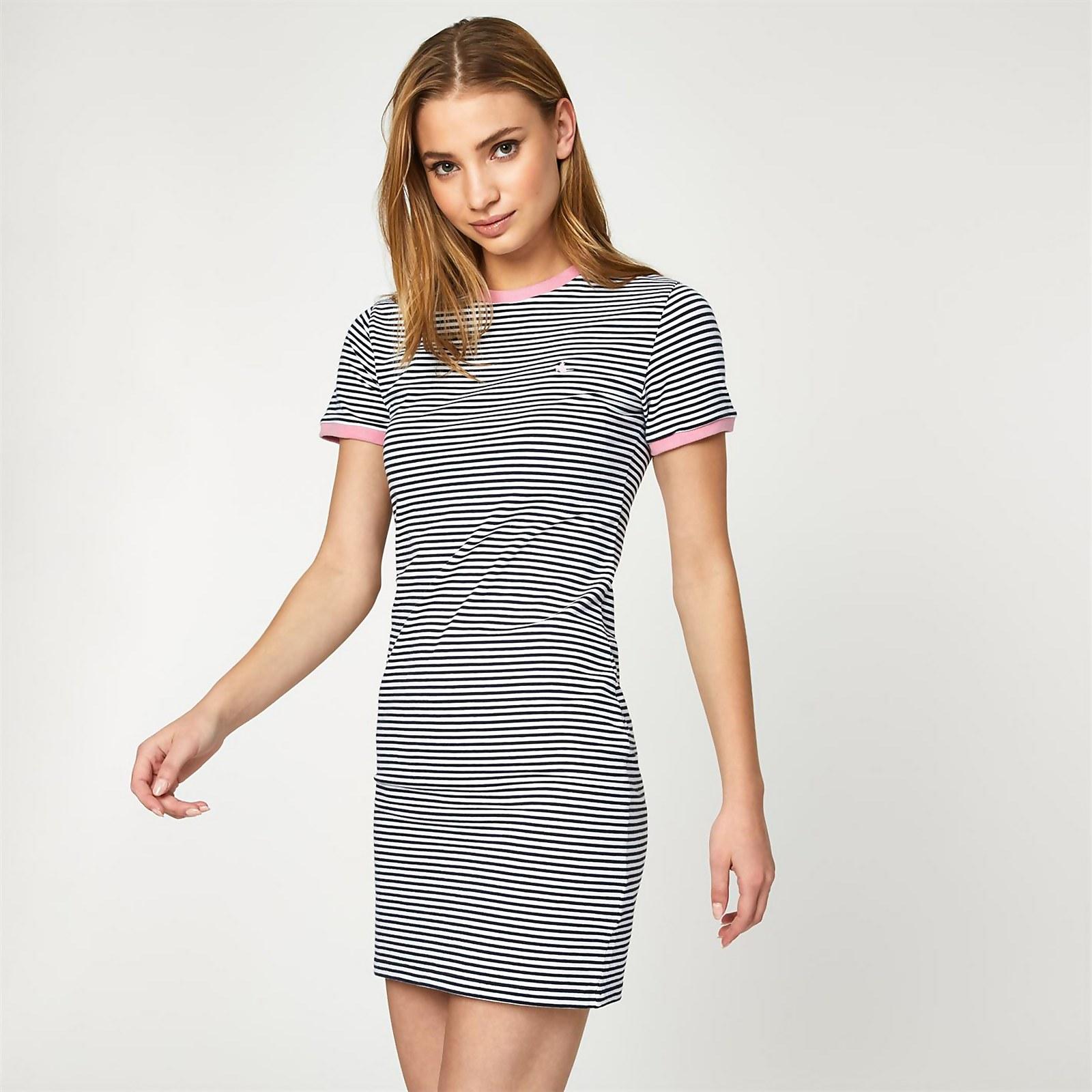 Harlech Ringer Dress - White Stripe