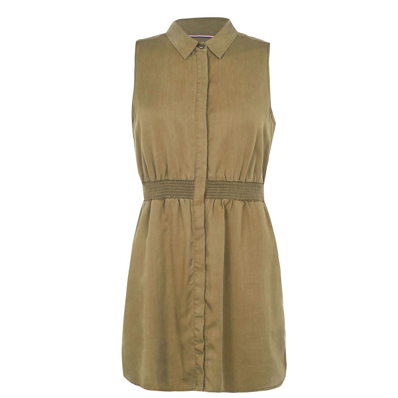 Ruckhall Sleeveless Shirt Dress - Olive