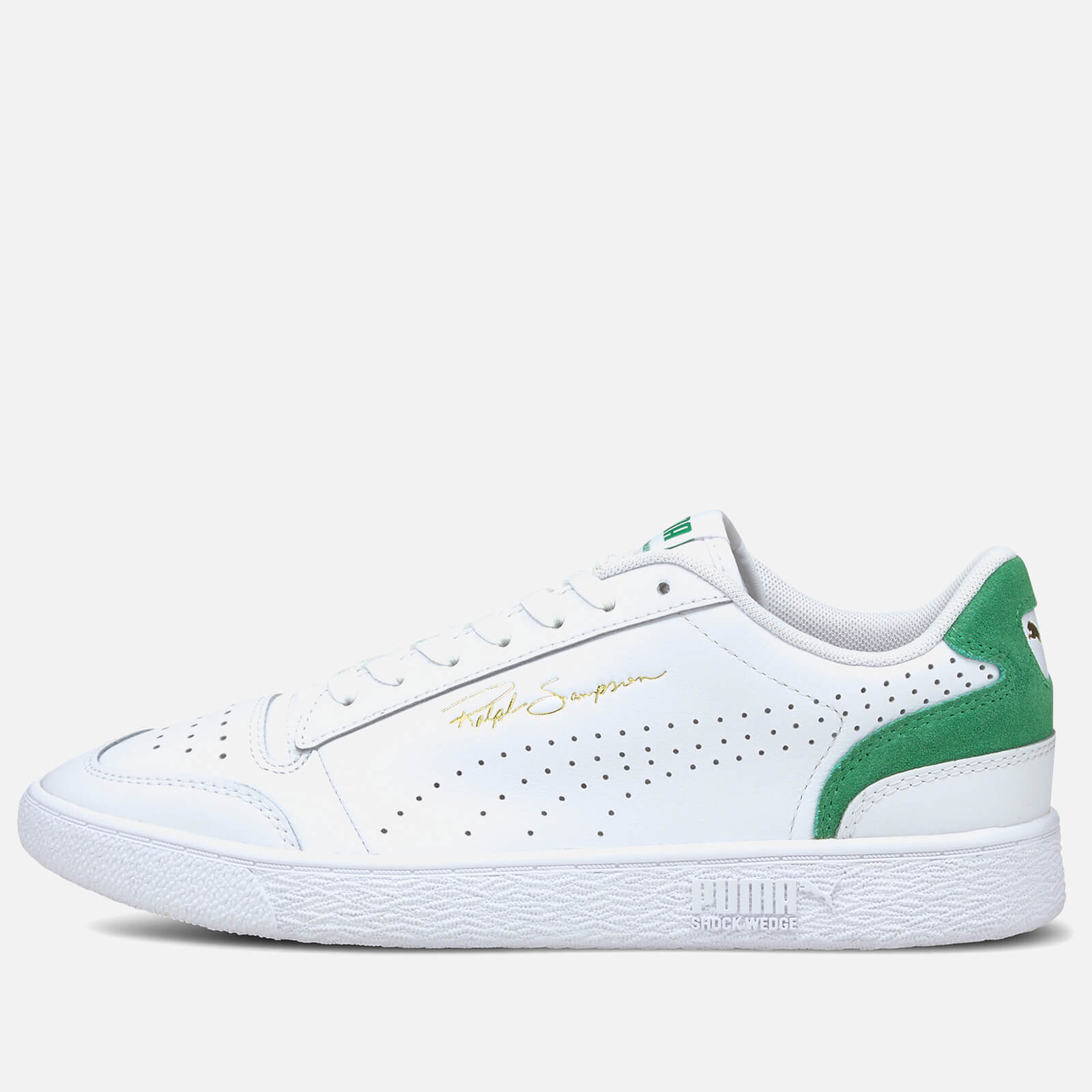 Puma Mens Ralph Sampson Lo Perforated Colourblock Trainers Puma White Amazon Green Uk 7
