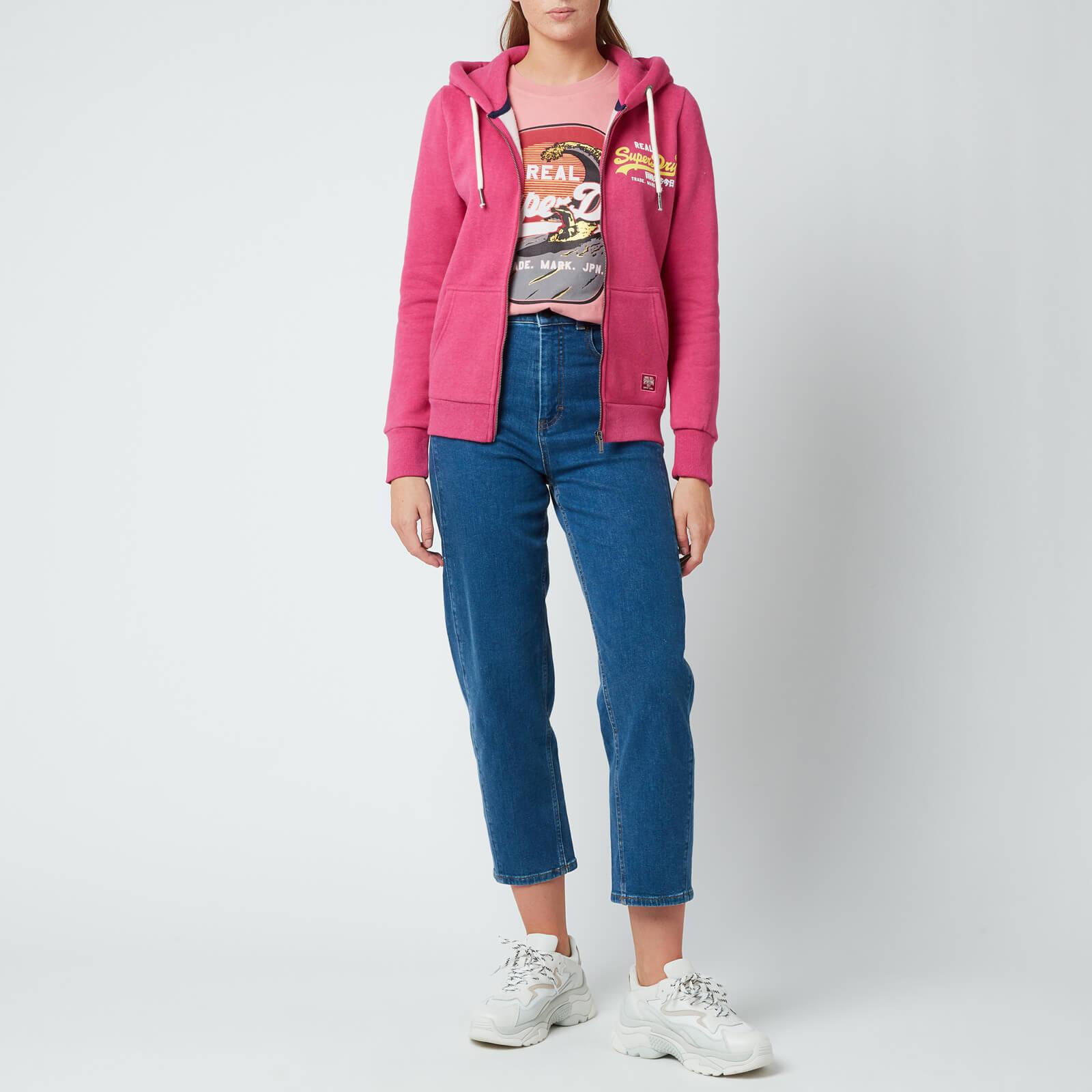 Superdry Women's Vl Duo Zip Hoodie - Magenta Marl - Uk 12 W2010925a 5es General Clothing, Pink