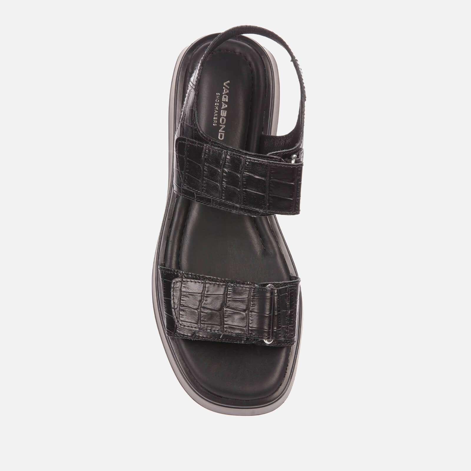 Vagabond Women's Courtney Embossed Leather Double Strap Sandals - Black/Black - Uk 6
