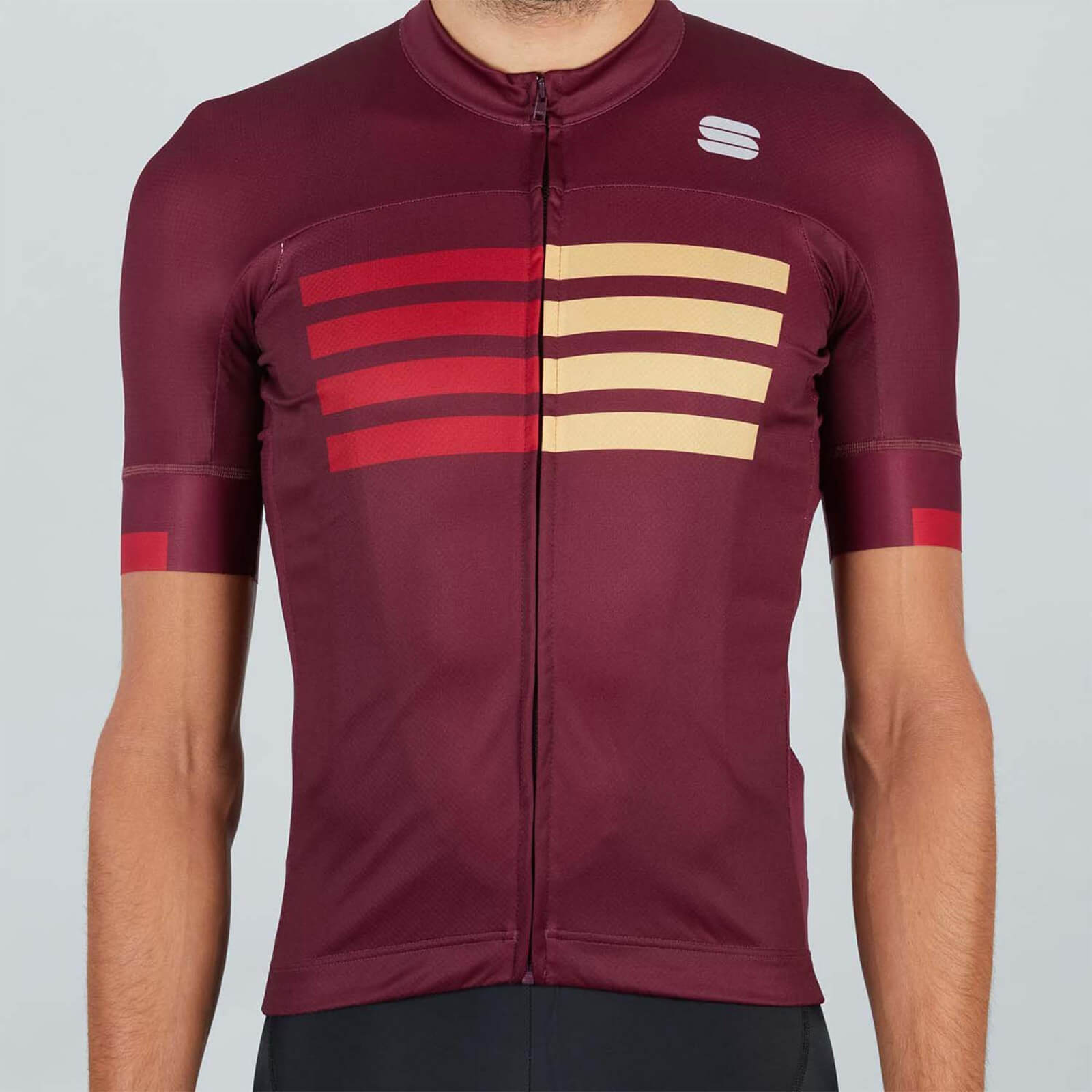 Sportful Wire Jersey - S - Red Wine/Red Rumba/Gold