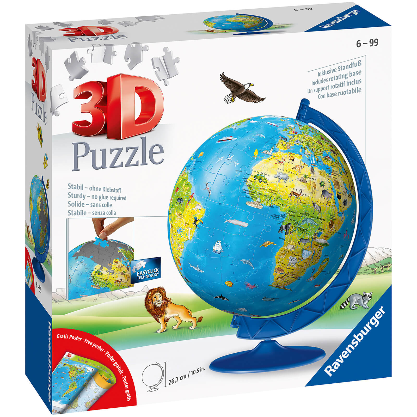 Image of Children's World Map 3D Jigsaw Puzzle (180 Pieces)