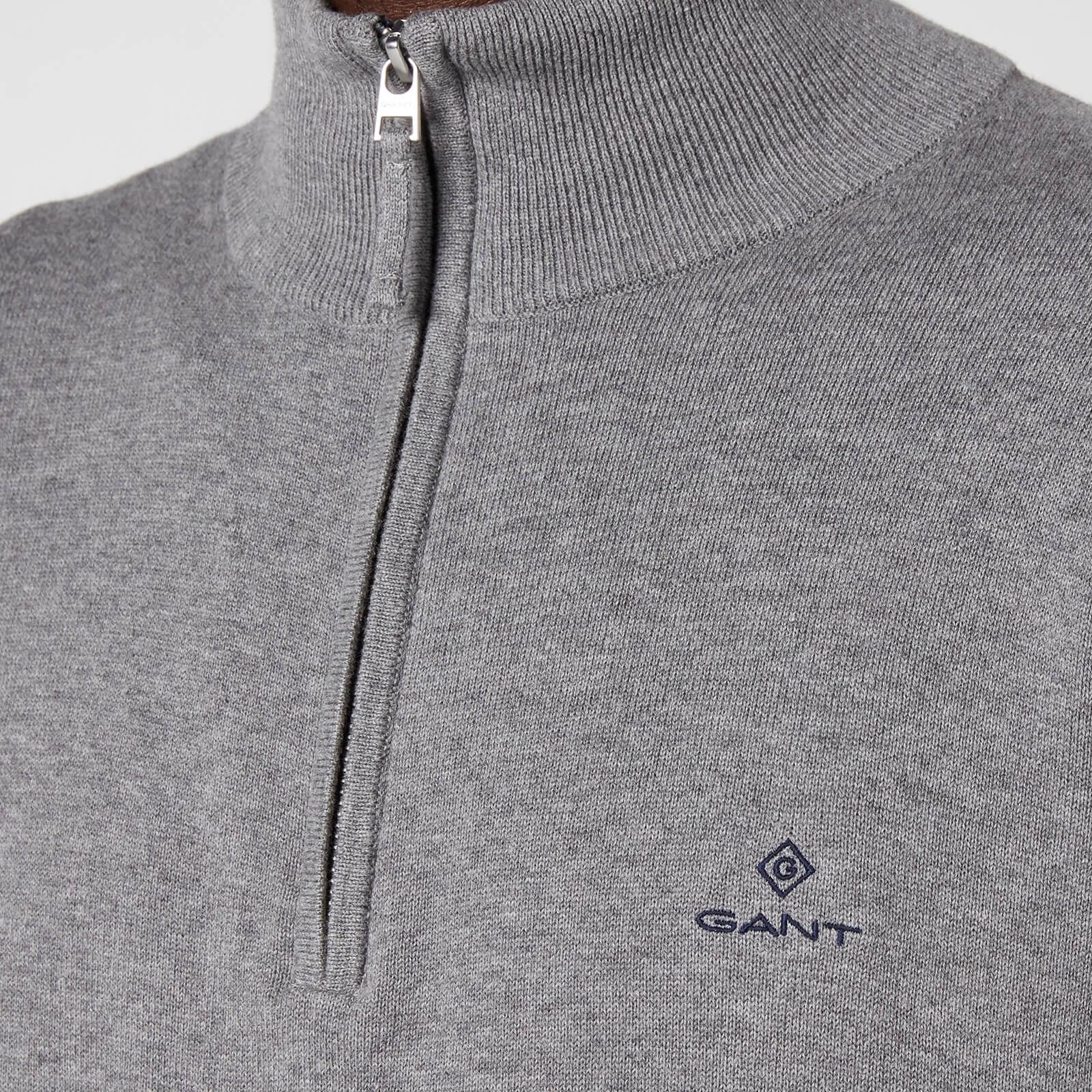 Gant Men's Classic Cotton Half Zip Jumper - Dark Grey Melange - Xxl 8030545092 General Clothing, Grey