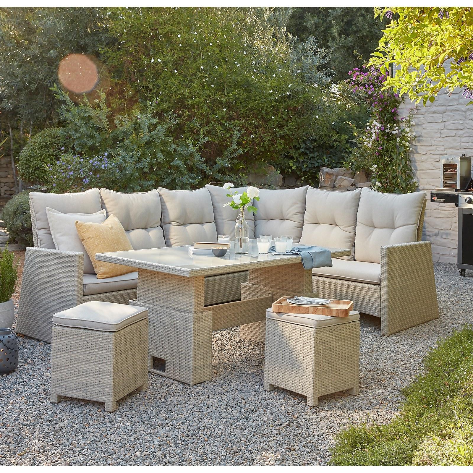 Hartington Rattan Albury Rising Corner Dining Sofa Set - Natural
