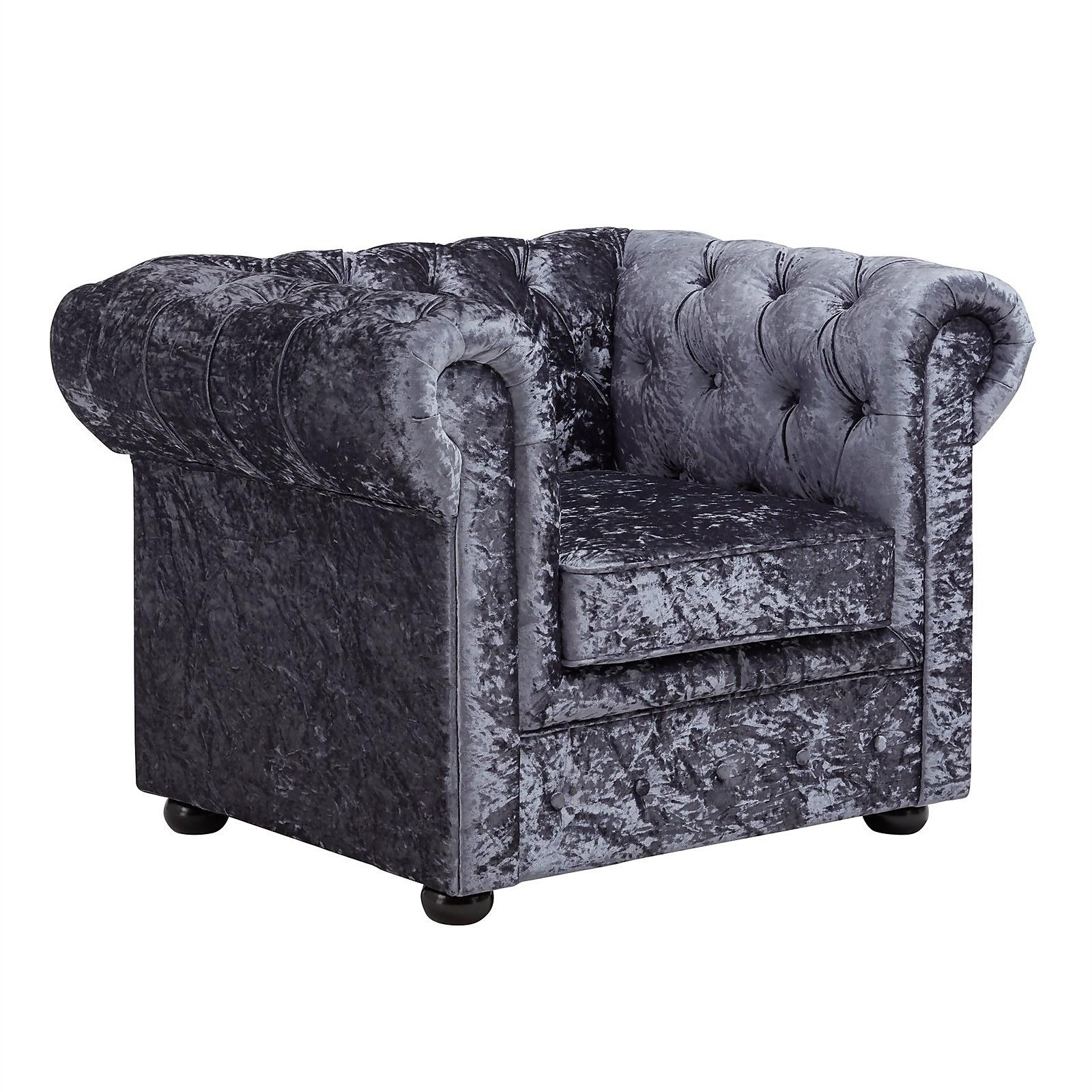 Chesterfield Crushed Velvet Armchair - Petrol Blue