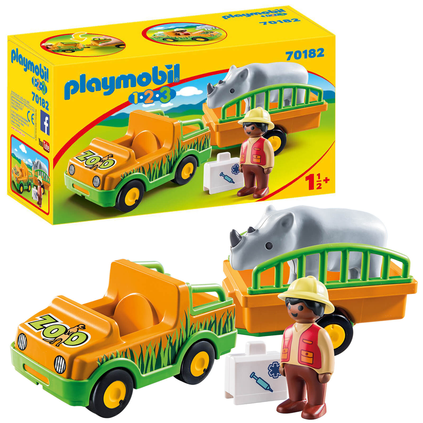 Playmobil 1.2.3 Zoo Truck And Trailer With Rhinoceros For Children 18 Months+ (70182)