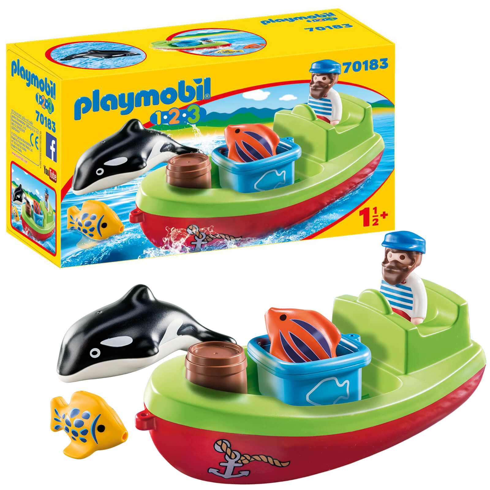 Playmobil 1.2.3 Fisherman With Boat For Children 18 Months+ (70183)