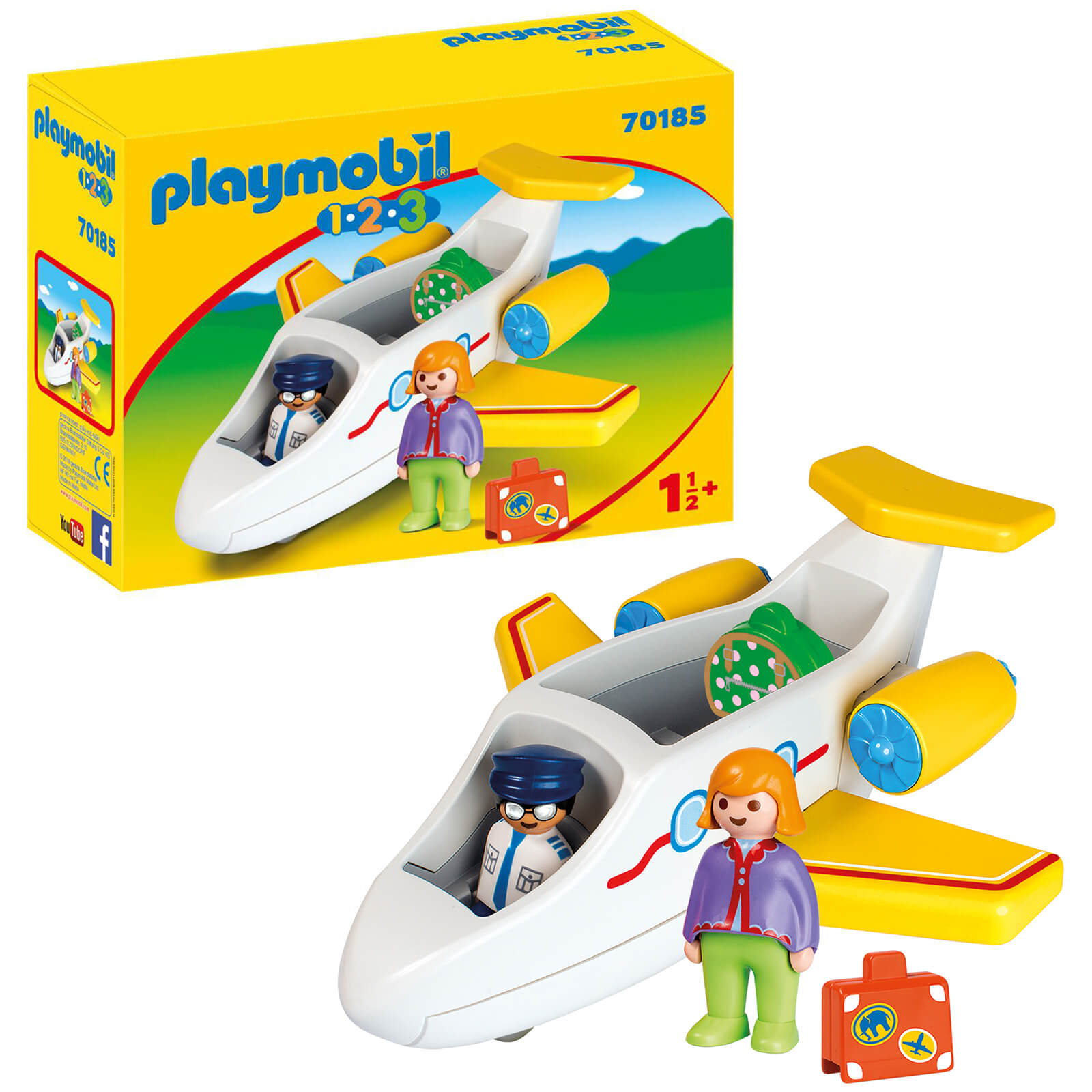 Playmobil 1.2.3 Plane With Passenger For Children 18 Months+ (70185)