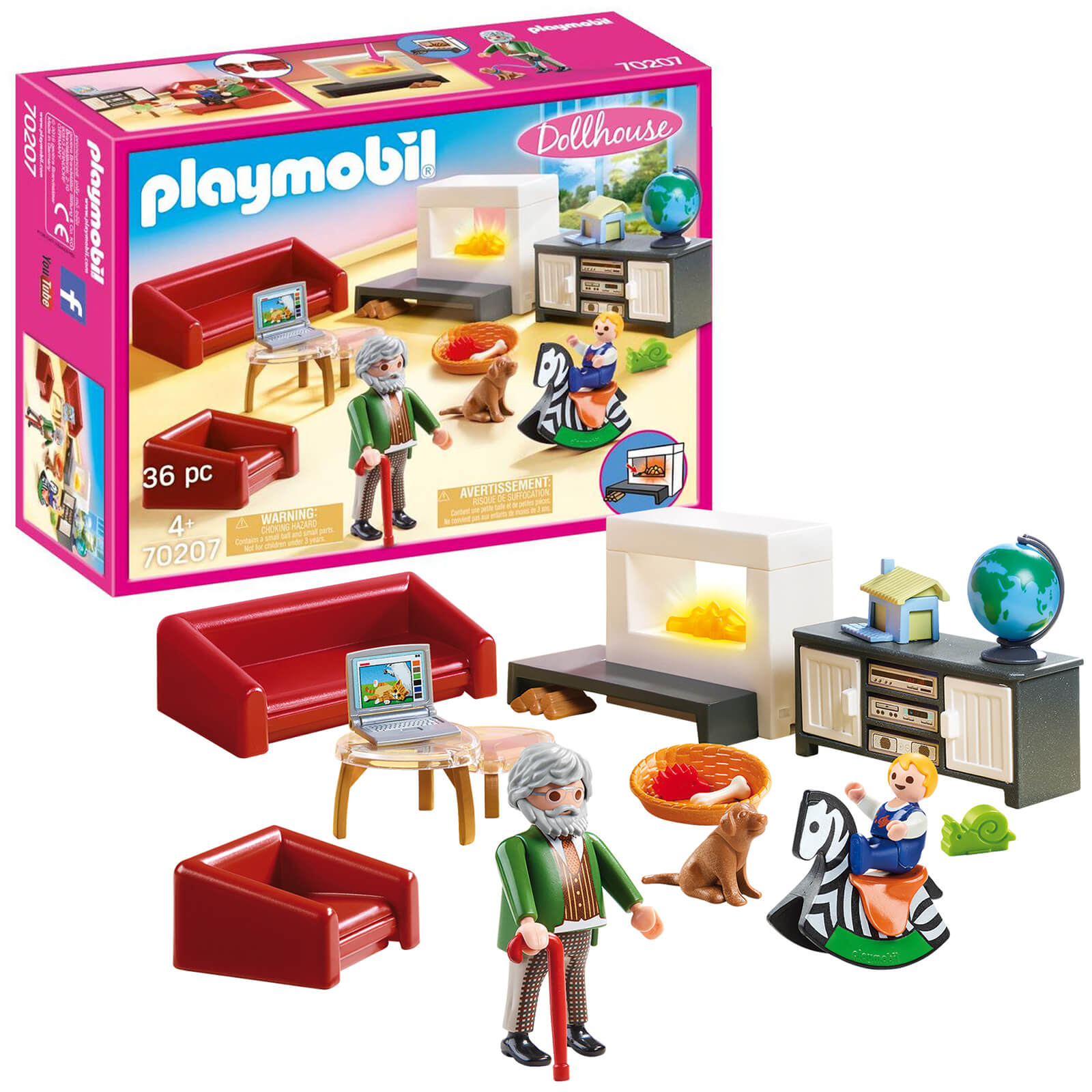 Playmobil Dollhouse Living Room With Fireplace (70207)