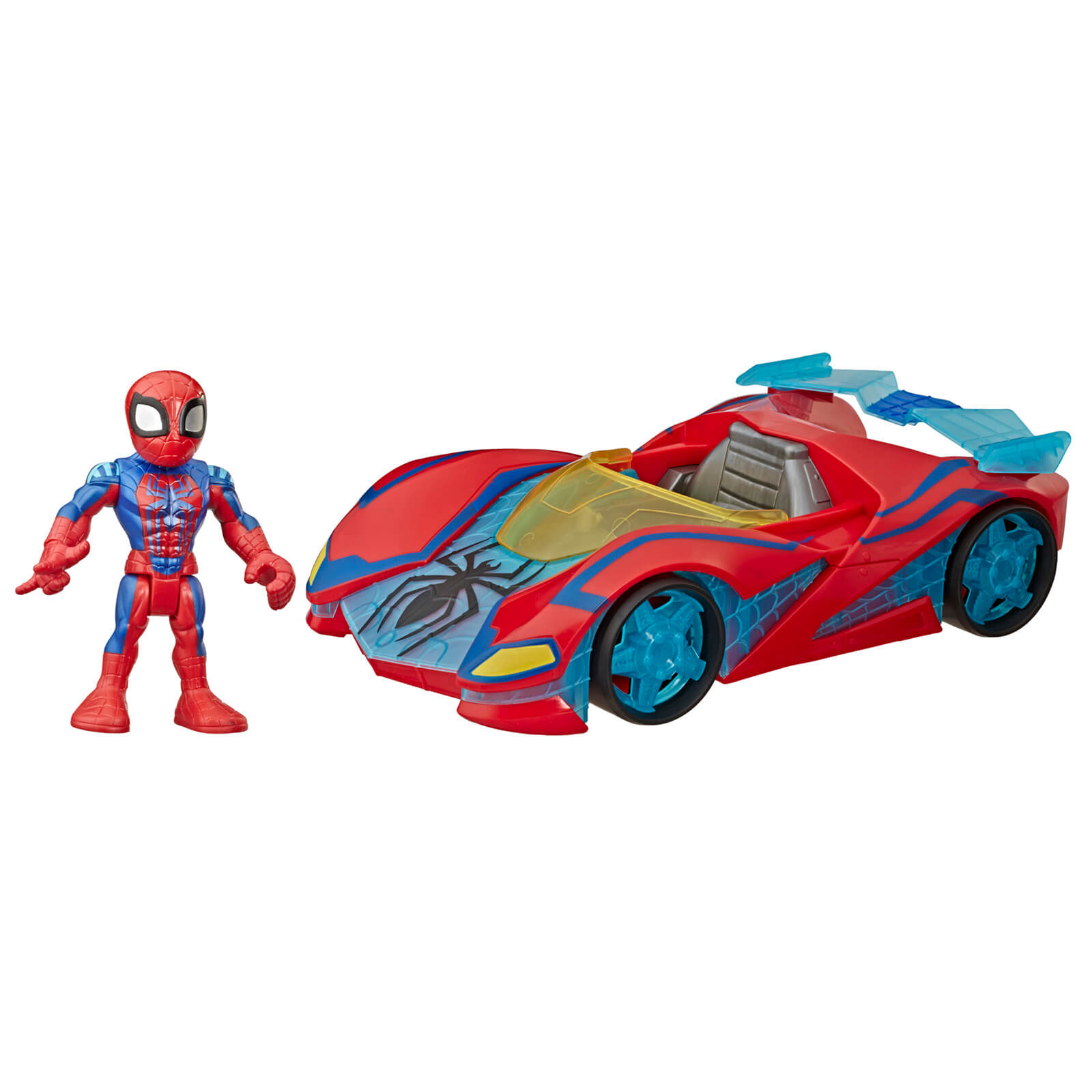 Hasbro Playskool Heroes Marvel Super Hero Adventures Spider Man Web Racer 5  Figure And Vehicle