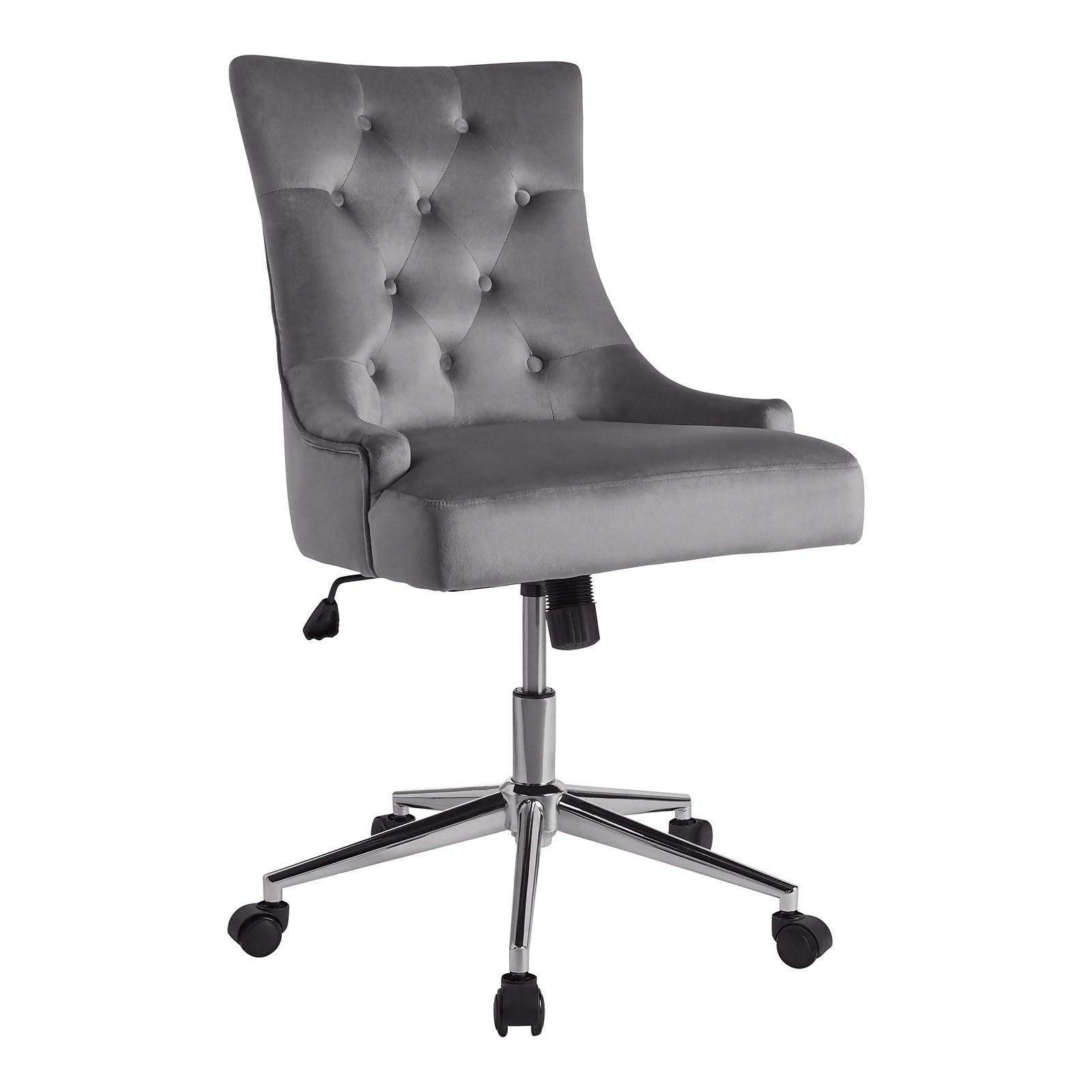 Cressida Velvet Office Chair - Grey