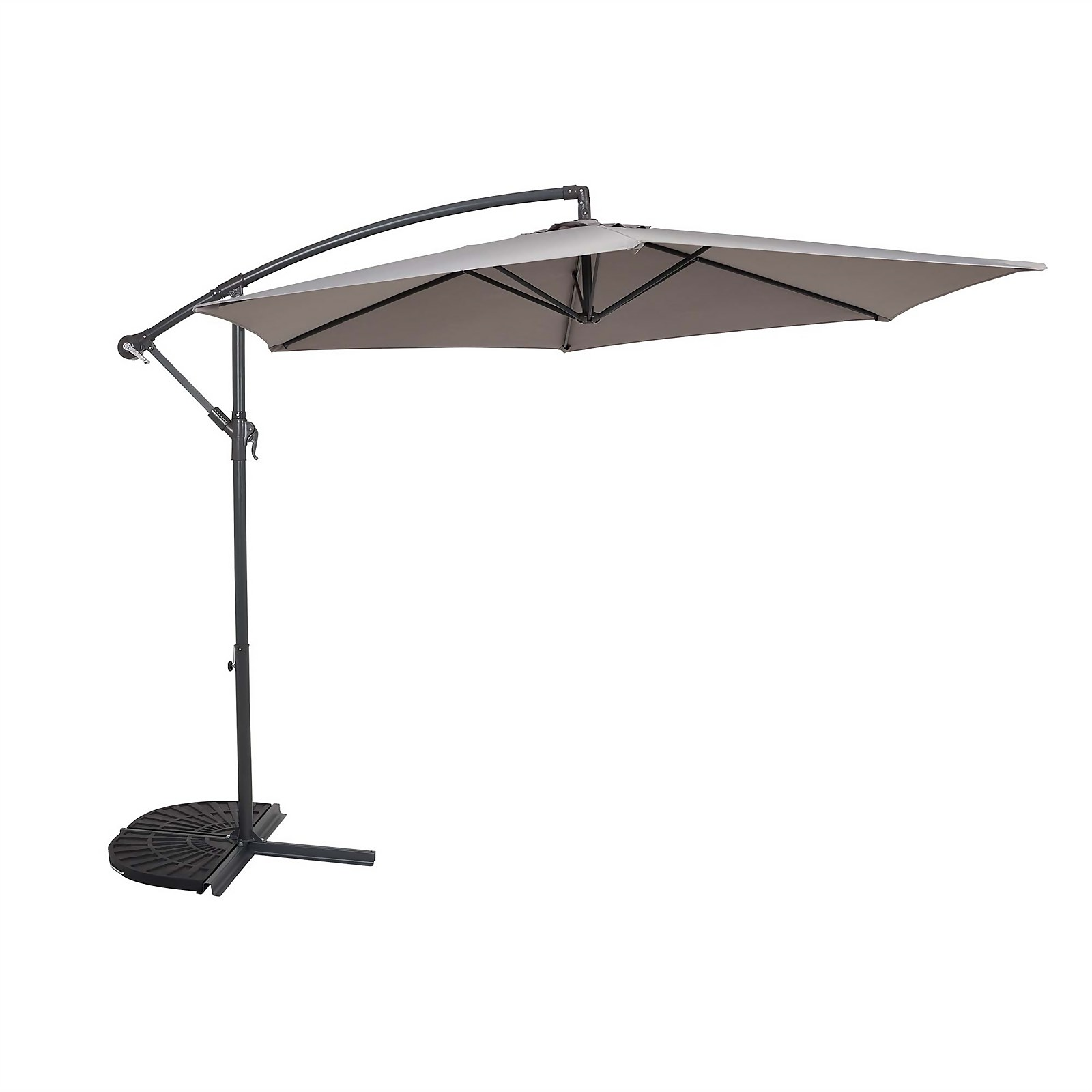 Parasol 3m Overhanging - Light Grey - Dia. 48mm