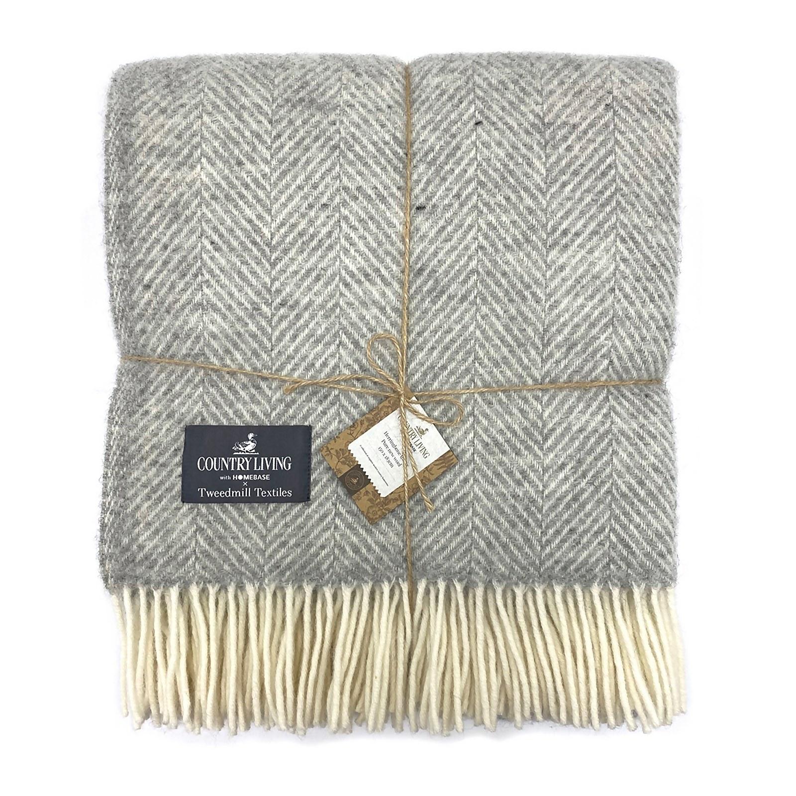 Country Living Wool Herringbone Throw - 150x183cm - Grey