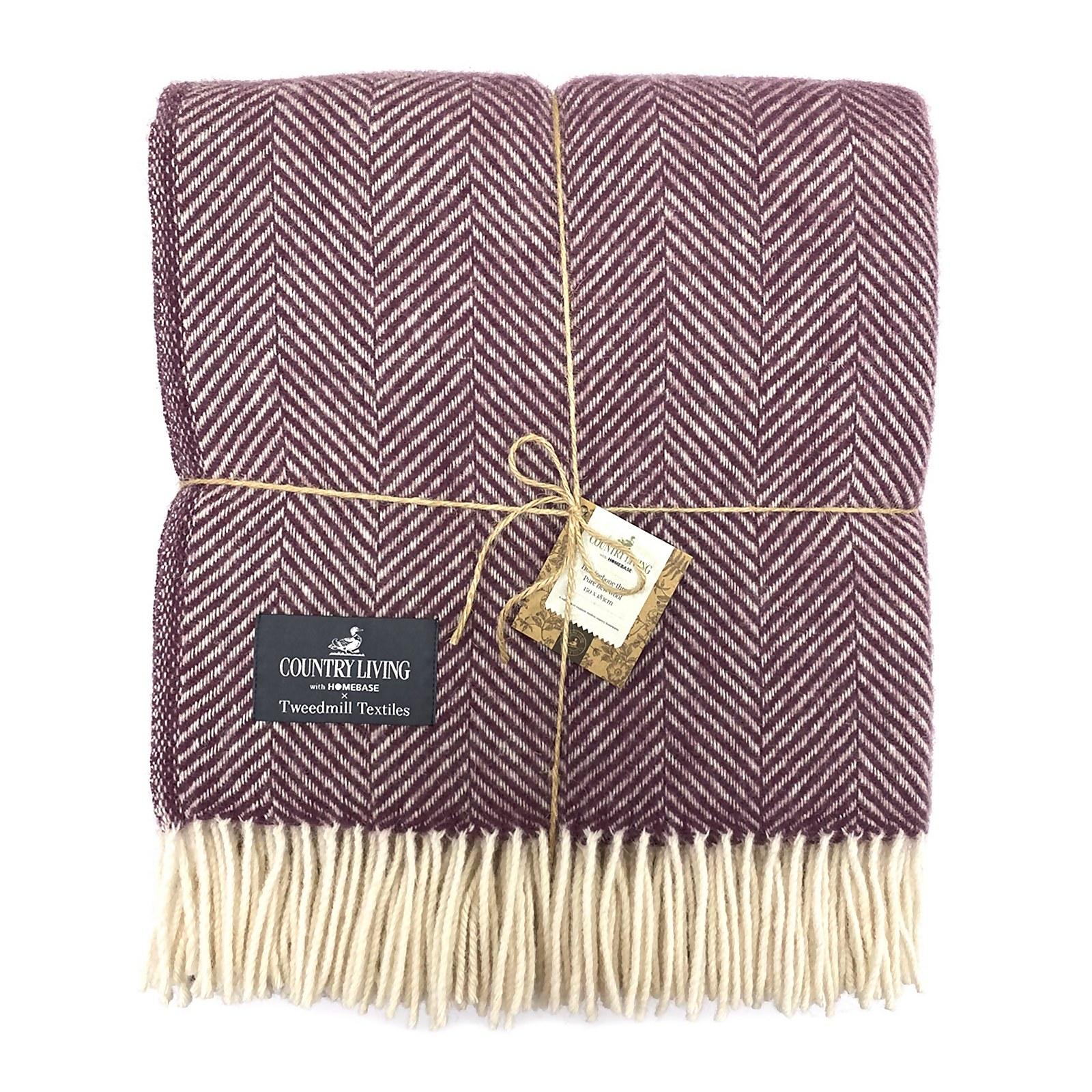 Country Living Wool Herringbone Throw - 150x183cm - Grape