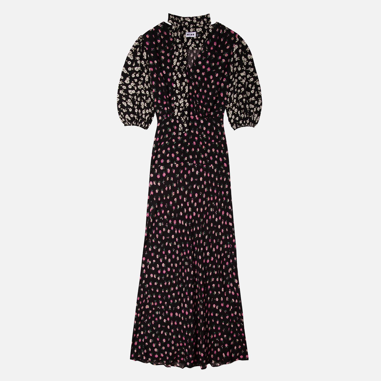 RIXO Women's Annika Dress - Mono Daisy Black Pink Mix - XS