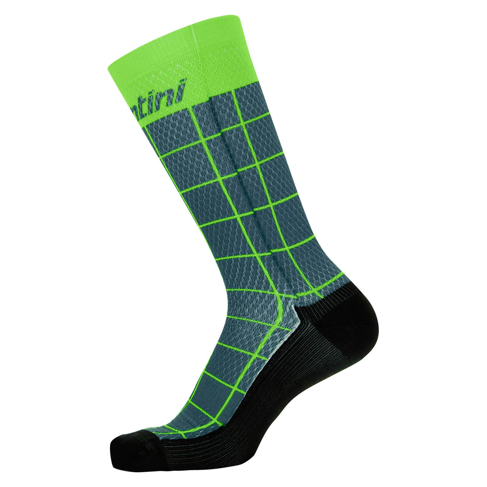 Santini Dinamo Medium Profile Printed Socks - M - Military Green