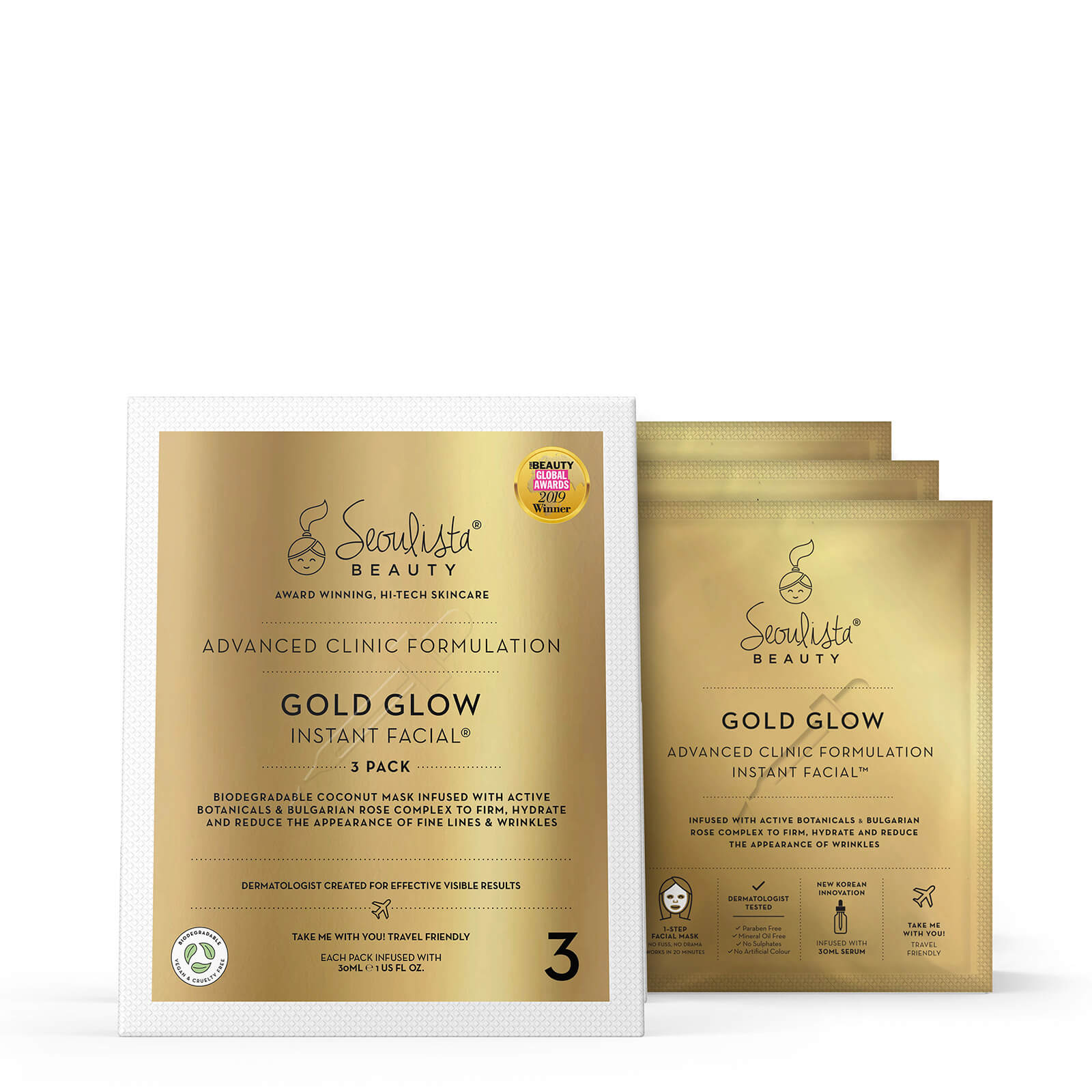 Купить Seoulista Beauty Gold Glow Instant Facial Pack (Pack of 3)