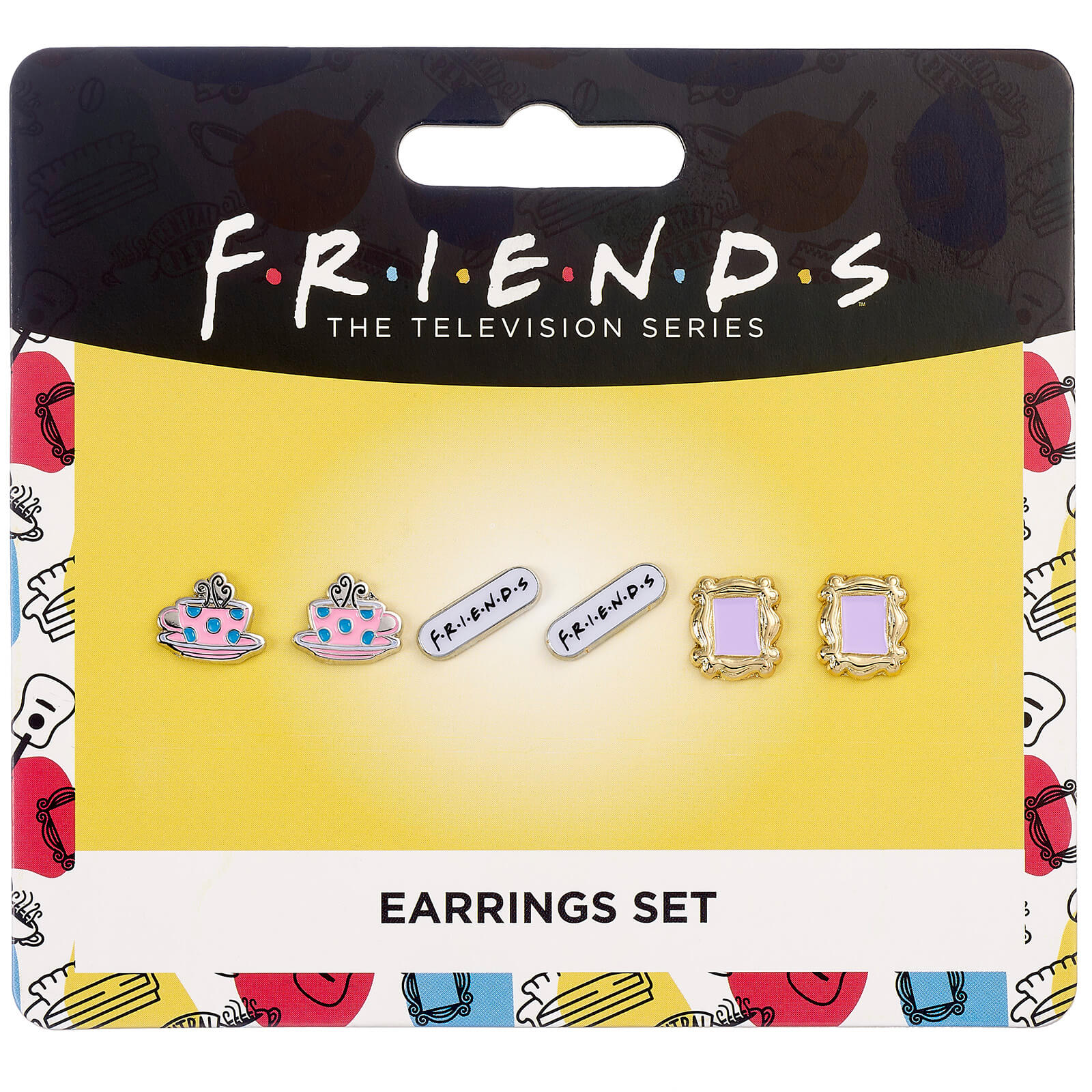 Image of Friends Set of 3 Earring Studs - Frame, Coffee Cup & Friends Logo