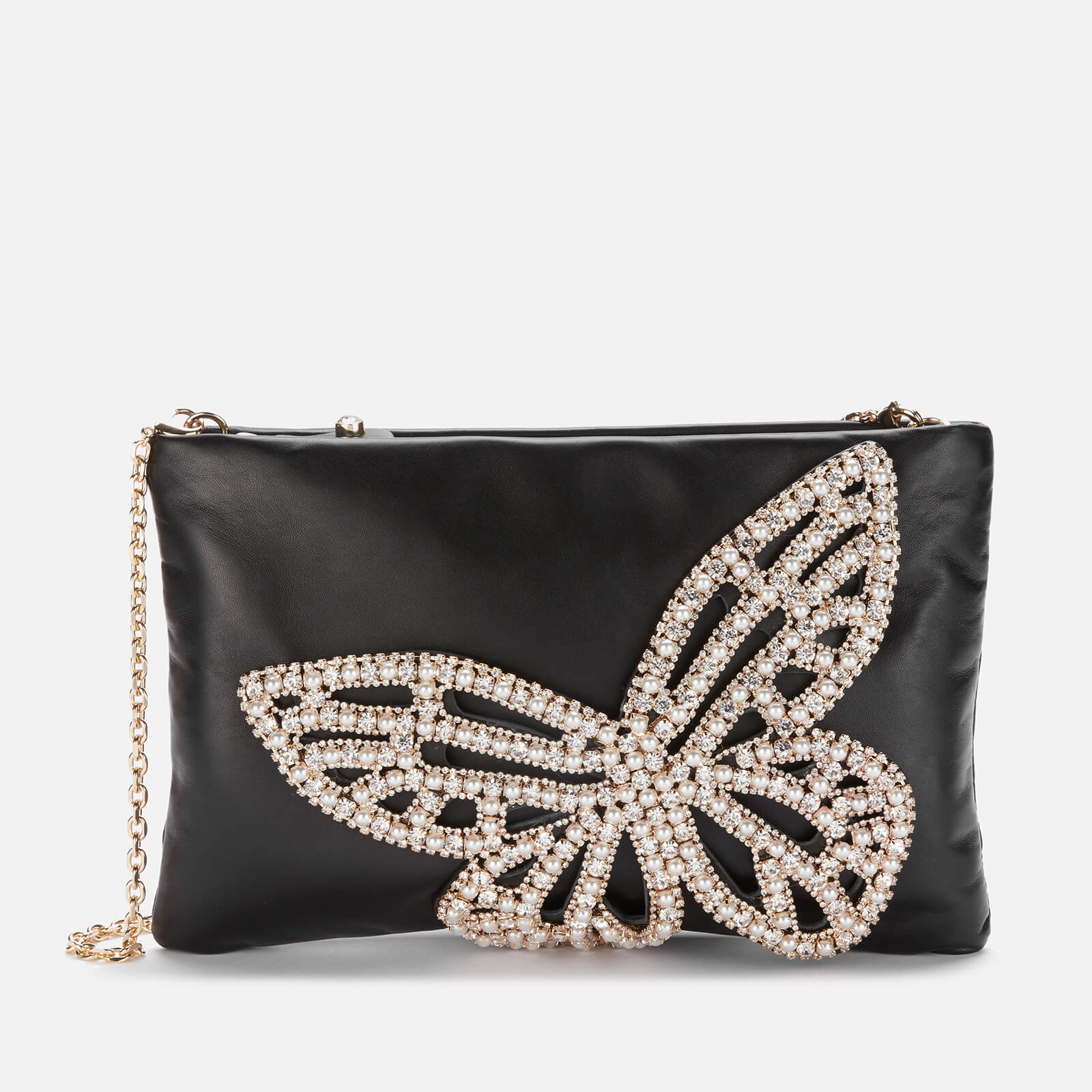Sophia Webster Women's Flossy Crystal Clutch - Black & Pearl