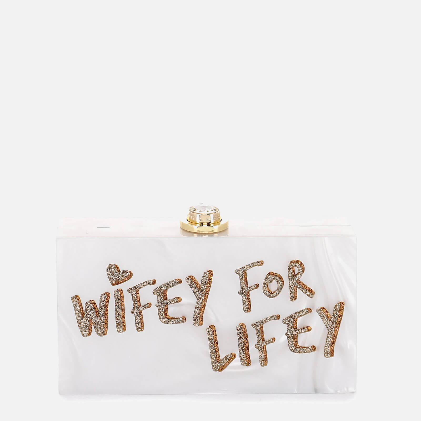 Sophia Webster Women's Cleo Wifey For Lifey Clutch Bag - White & Gold