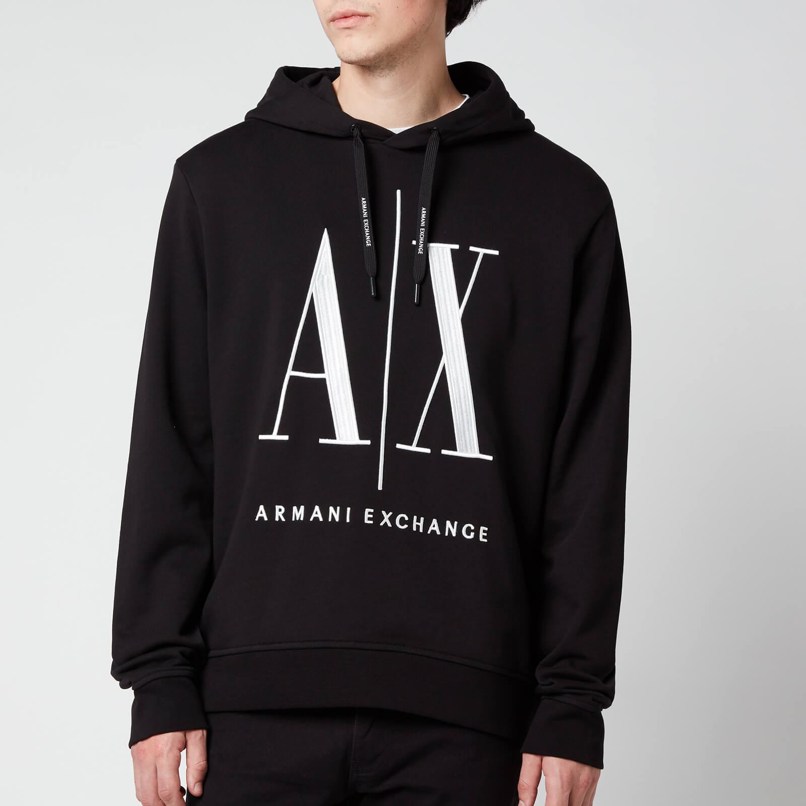 Armani Exchange Men's Large Ax Logo Hoodie - Black - S