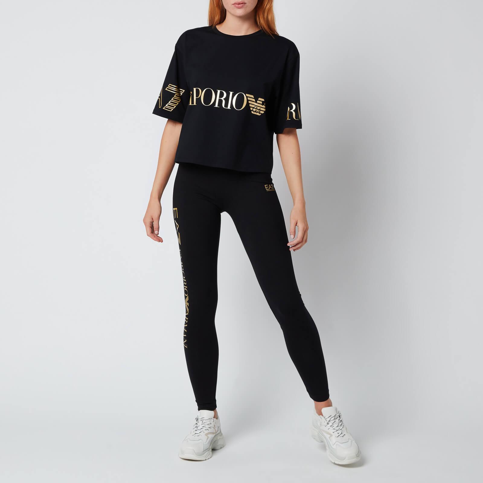 emporio armani ea7 women's train shiny leggings - black/light gold - xs