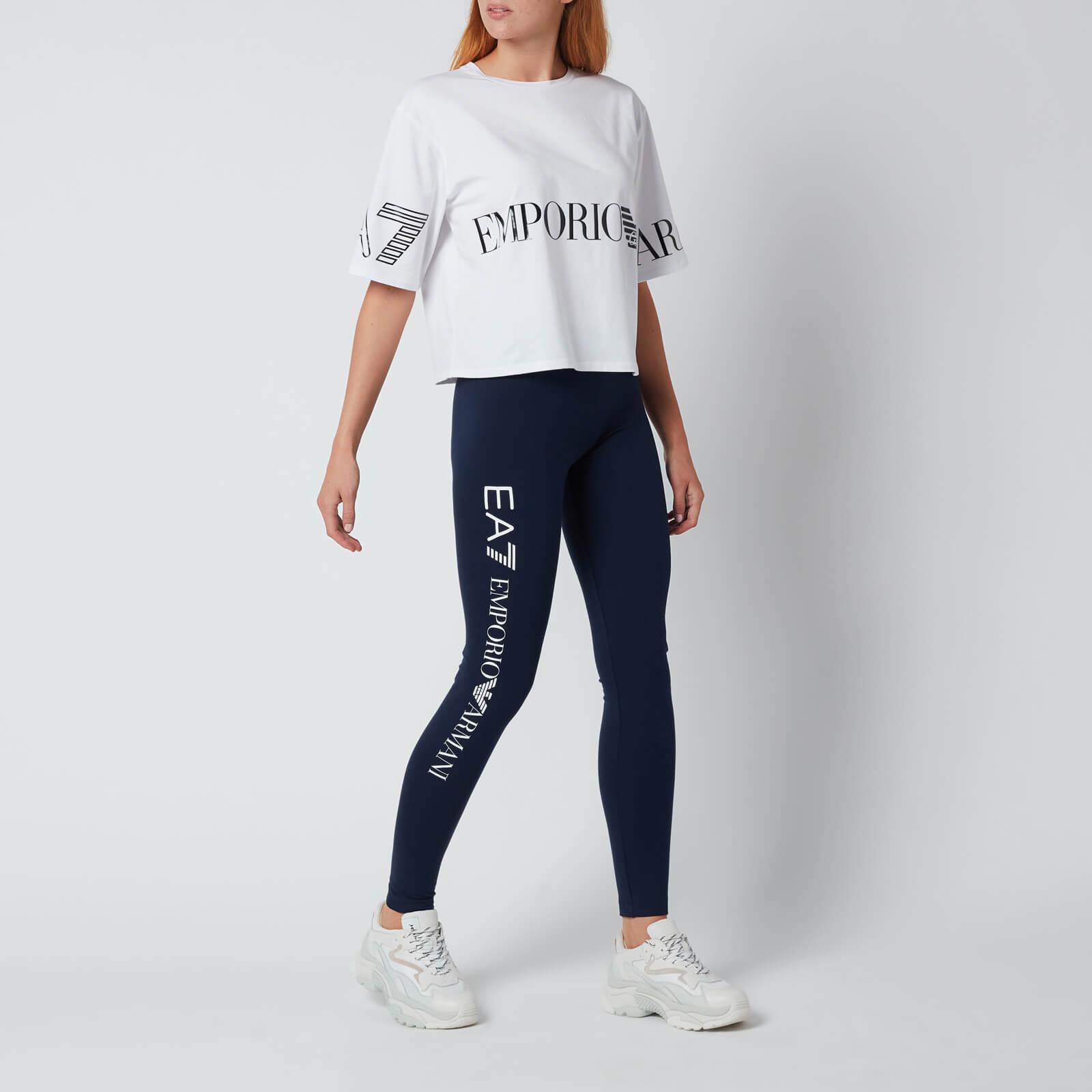 emporio armani ea7 women's train shiny leggings - blue navy/white - xs