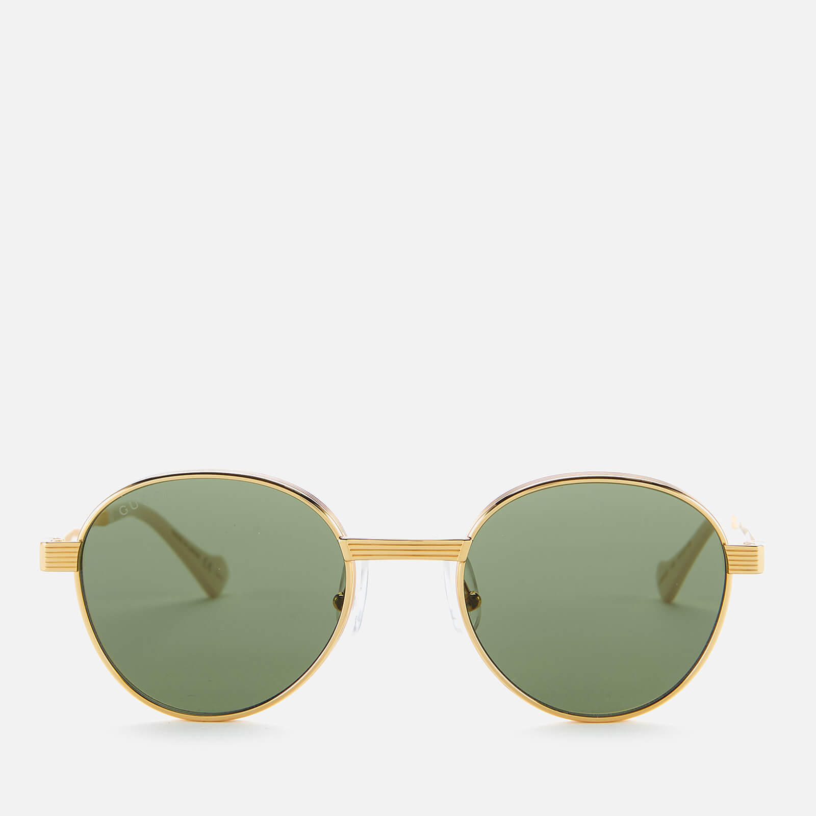 Gucci Men's Rounded Metal Sunglasses - Gold/Green