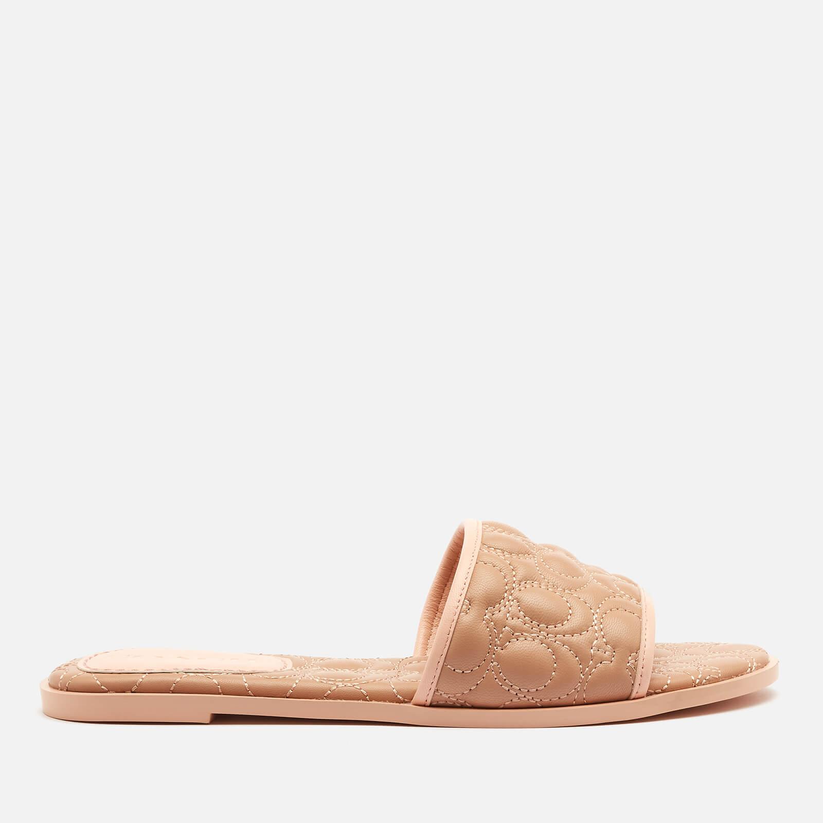 Coach Women's Olivea Quilted Leather Slide Sandals - Beechwood - Uk 3